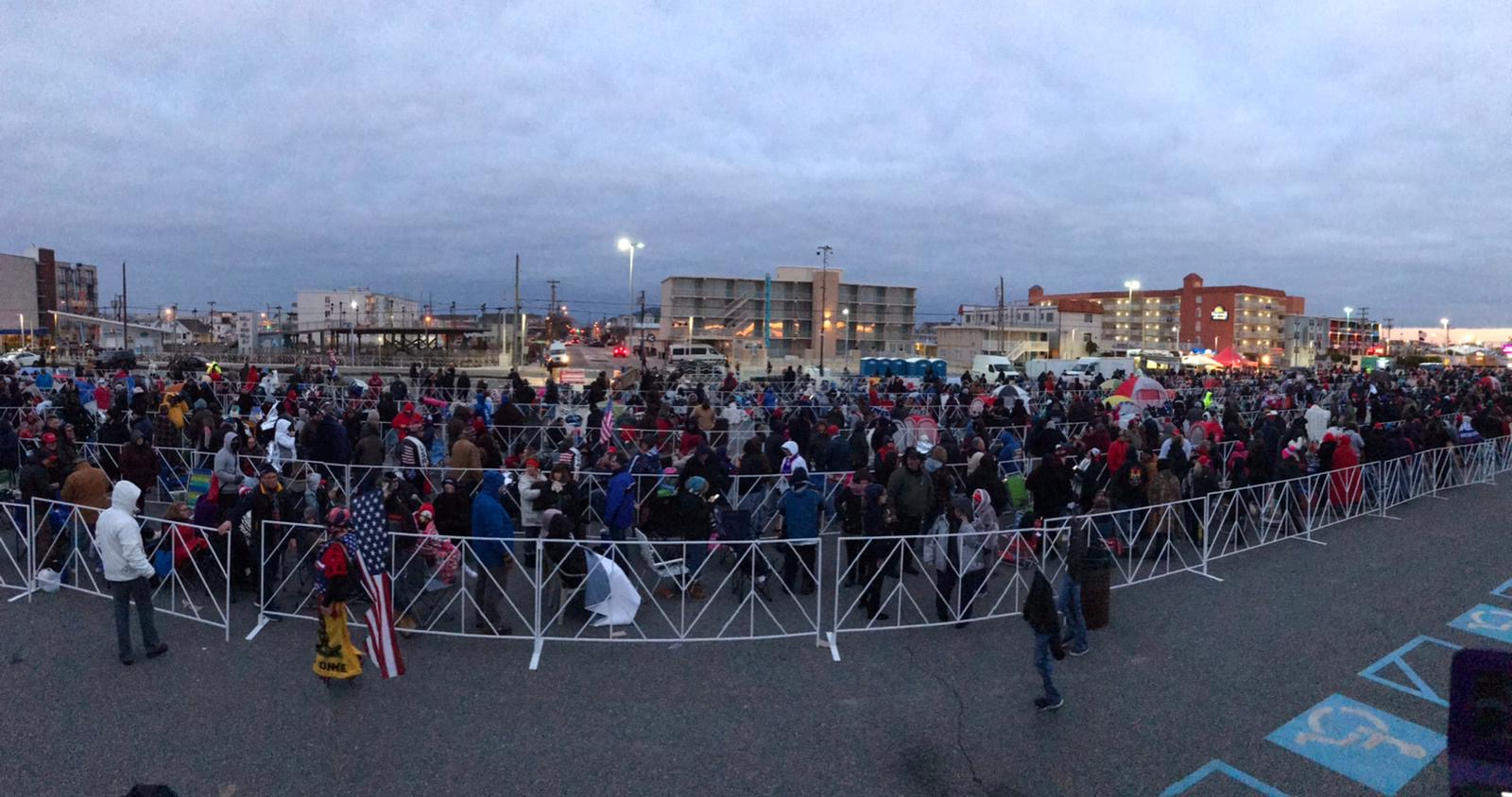 Thousands in line for President Donald Trump's rally in Wildwood