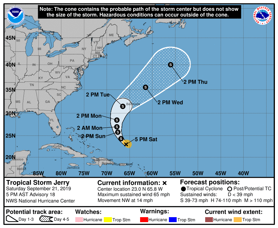 Jerry weakens to a tropical storm