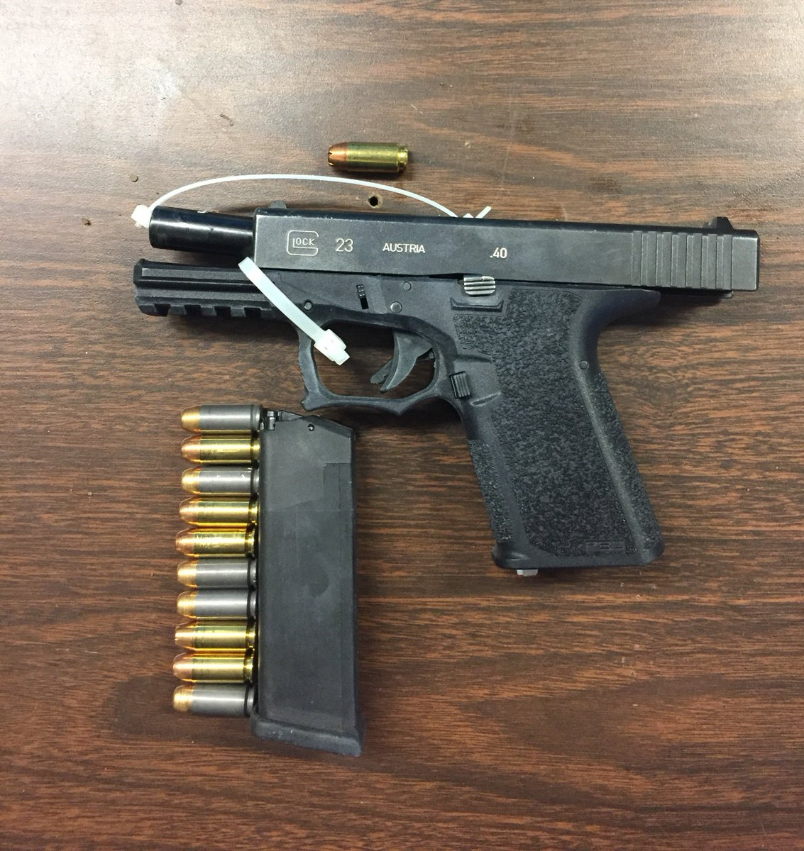 The 120th Precinct's Twitter feed said this gun was found in Jake Pankey's possession after a violent dispute in which he punched a woman and threatened to kill her.