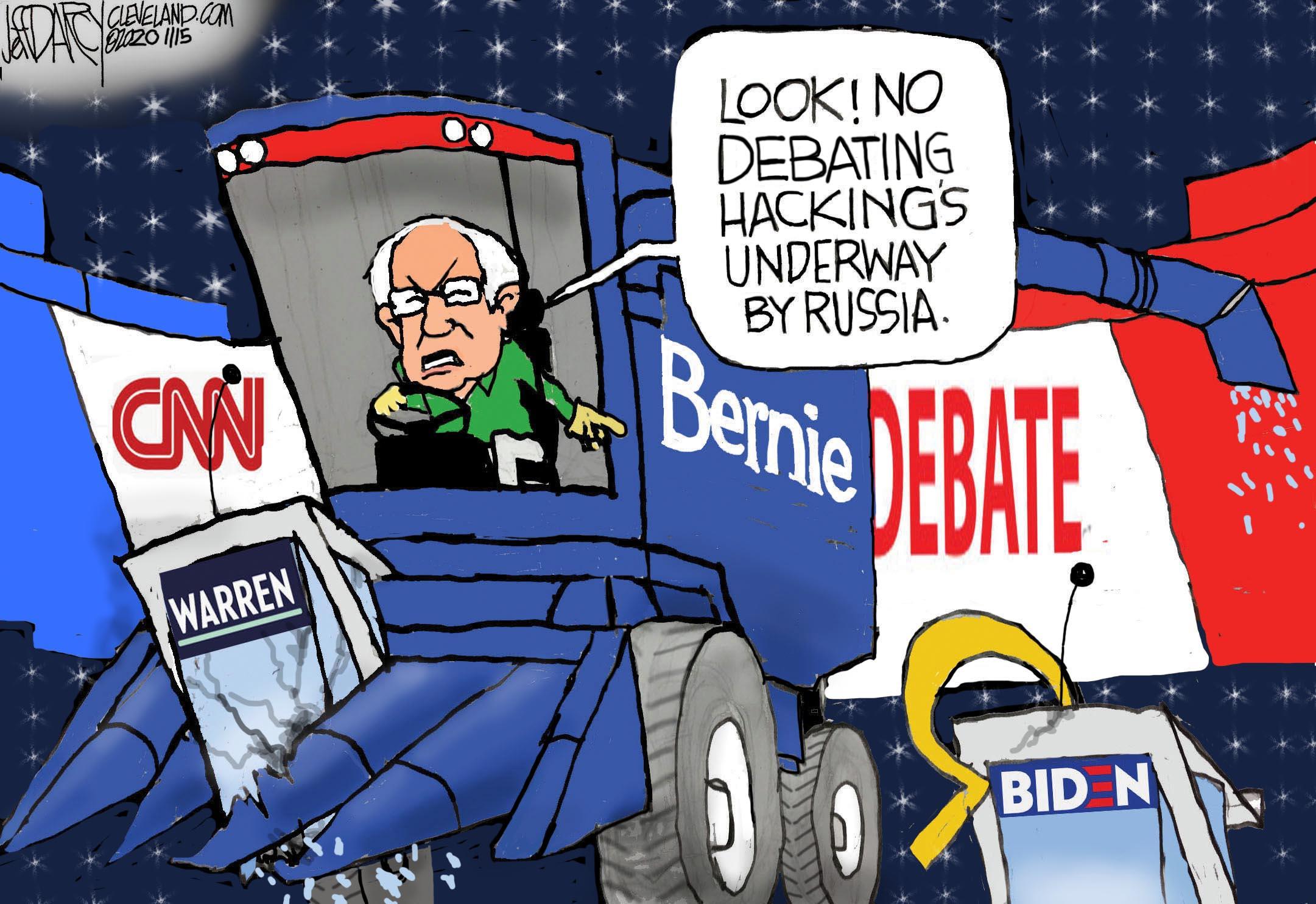Warren Sanders Debate Russia Hacking Darcy Cartoon Cleveland Com