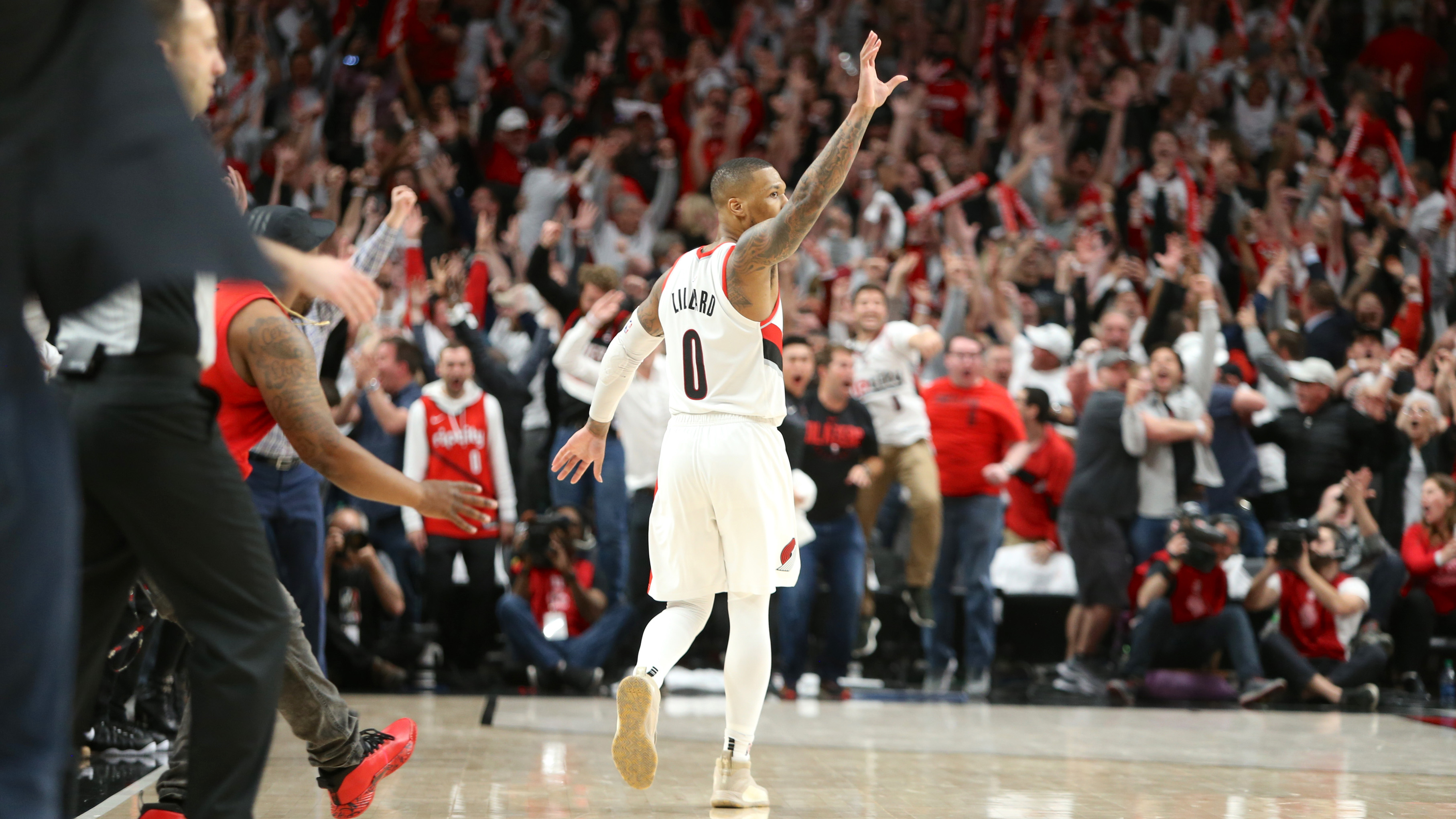 Image result for dame shot over paul george
