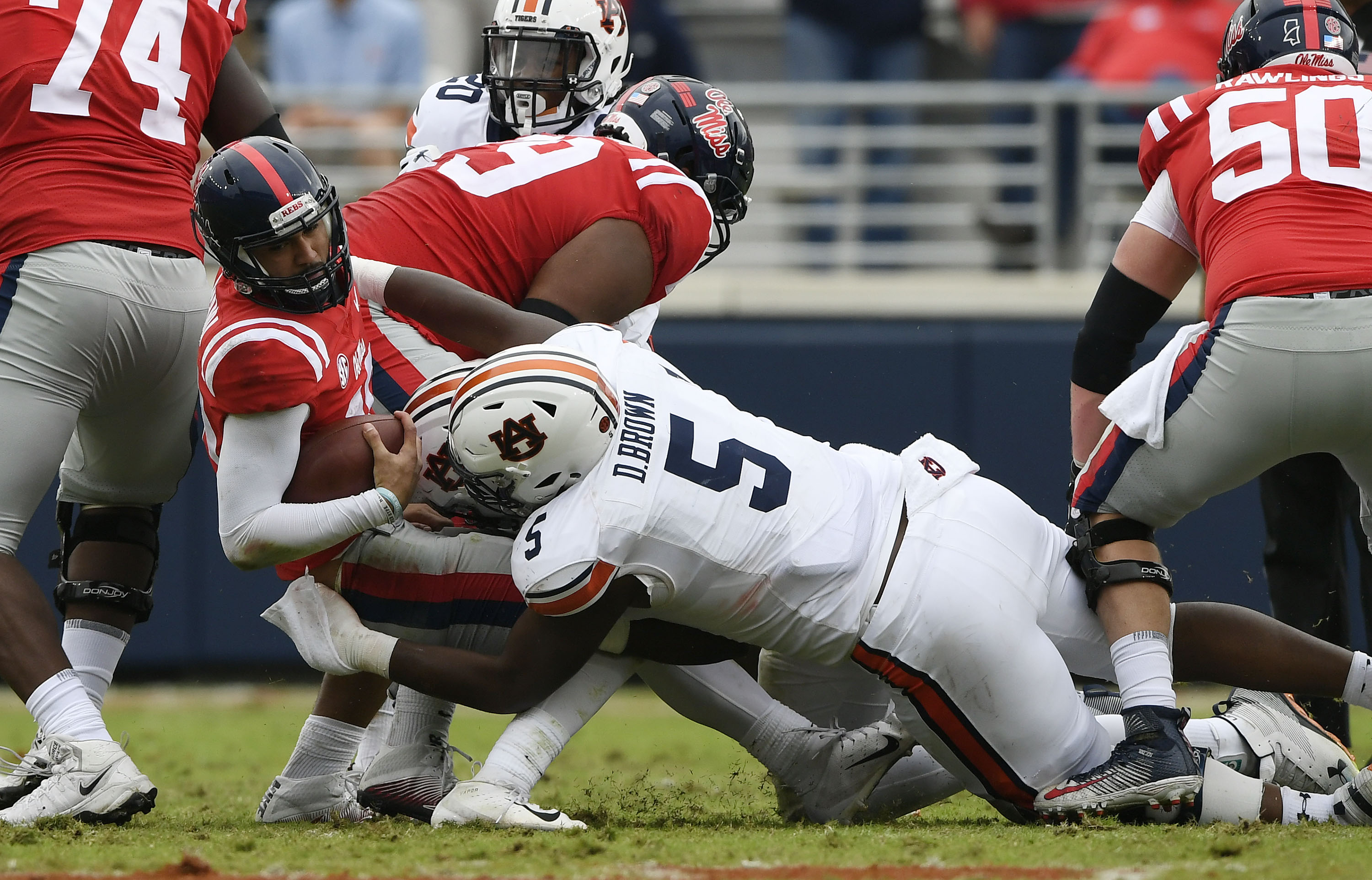 Nick Coe and Derrick Brown make a stop on 4th down in the second half. Auburn at Ole Miss on Saturday, Oct. 20, 2018 in Oxford, MS. Todd Van Emst/AU Athletics