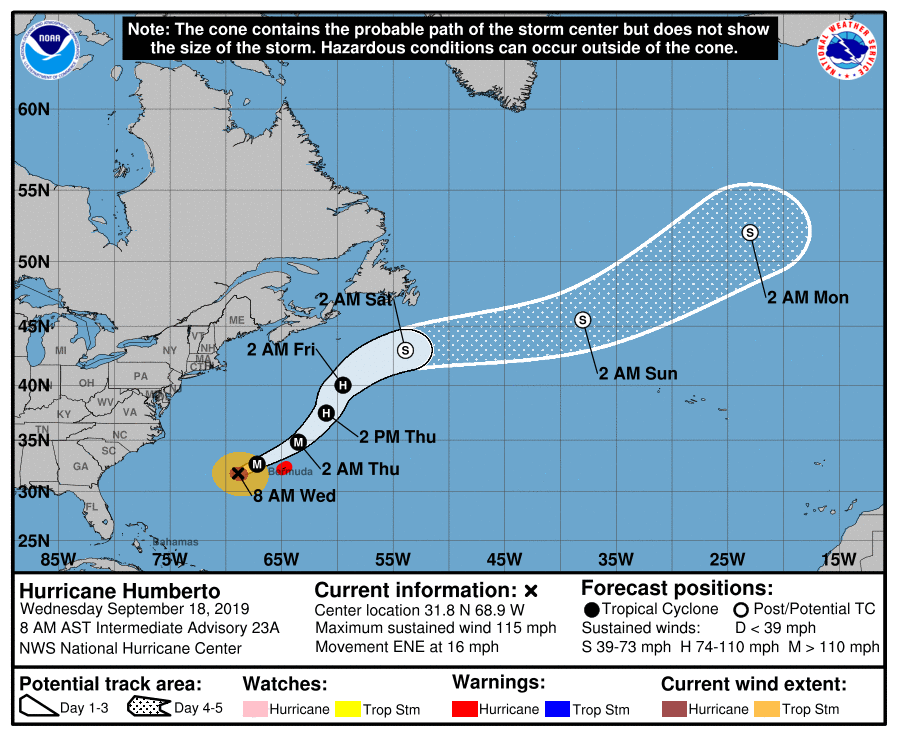 Hurricane Humberto: Bermuda under hurricane warning as huge Category 3 storm approaches