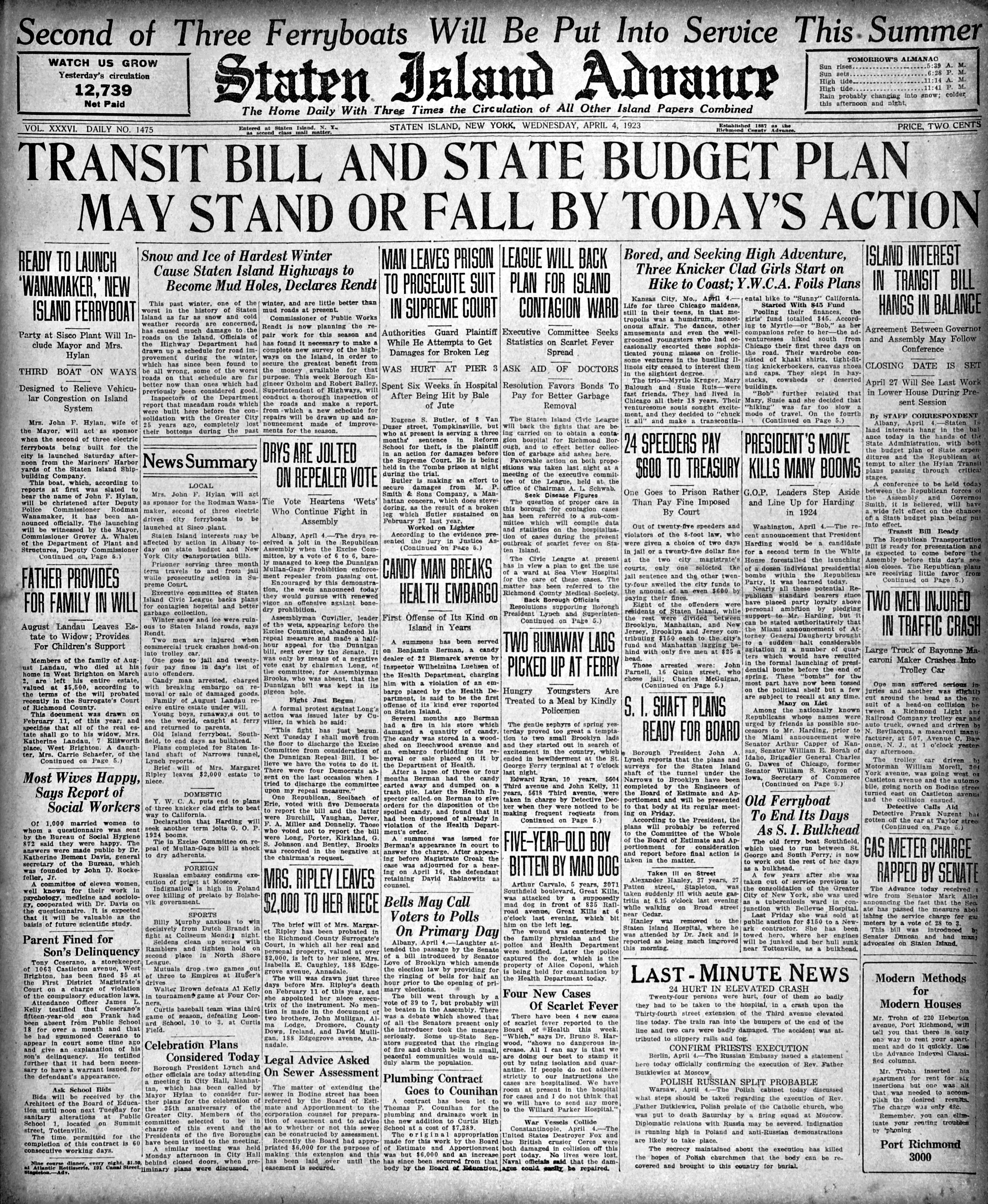 Advance historic page from April 4, 1923: City to launch new ferryboat