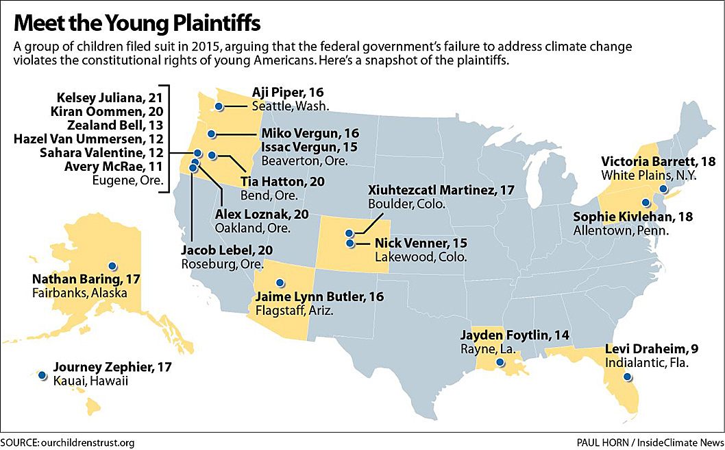 Twenty young plaintiffs from around the country are suing the federal government in U.S. District Court in Eugene, Ore.