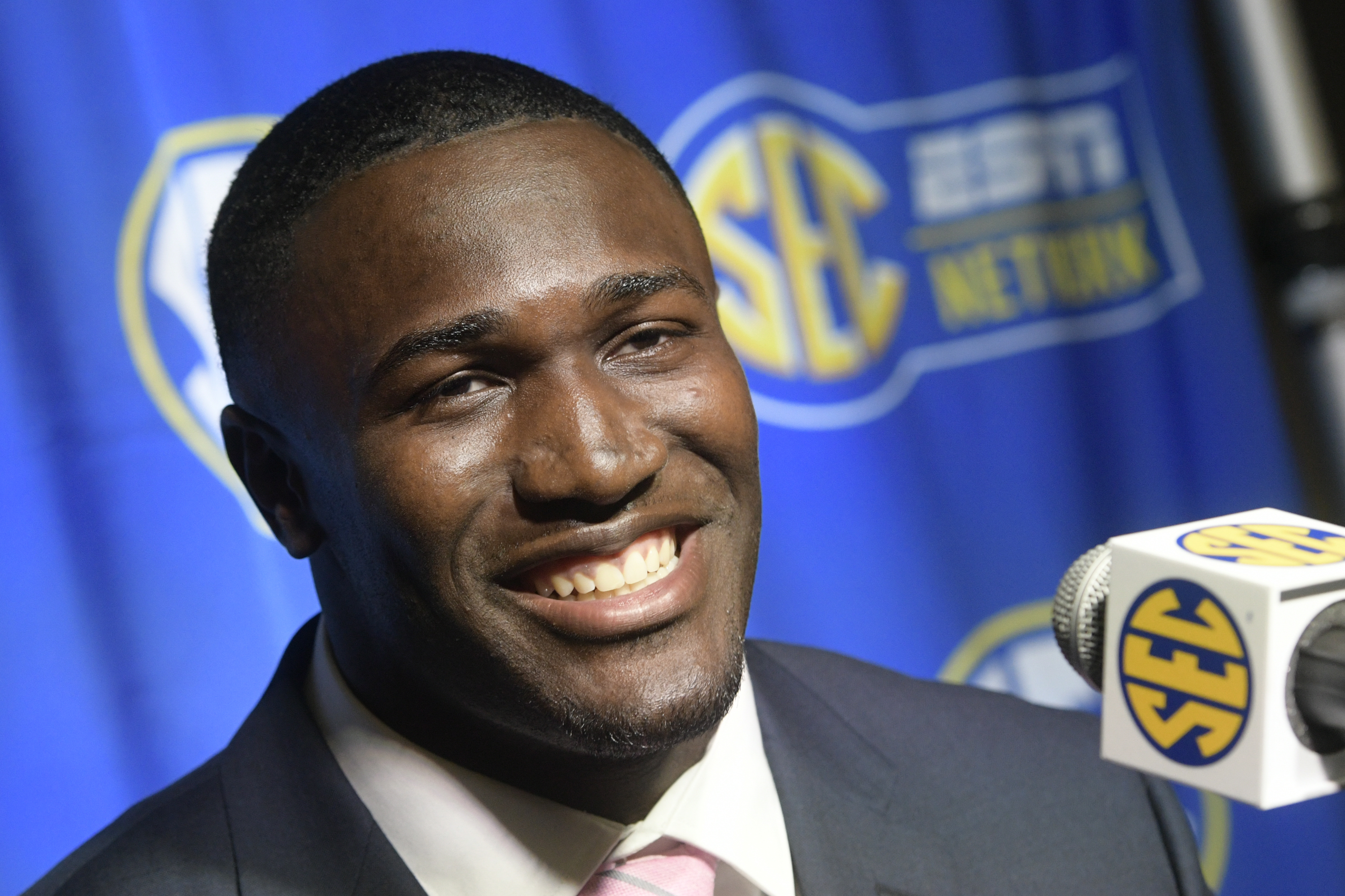 LSU linebacker Devin White is interviewed during NCAA college football Southeastern Conference media days at the College Football Hall of Fame in Atlanta, Monday, July 16, 2018. (AP Photo/John Amis) AP