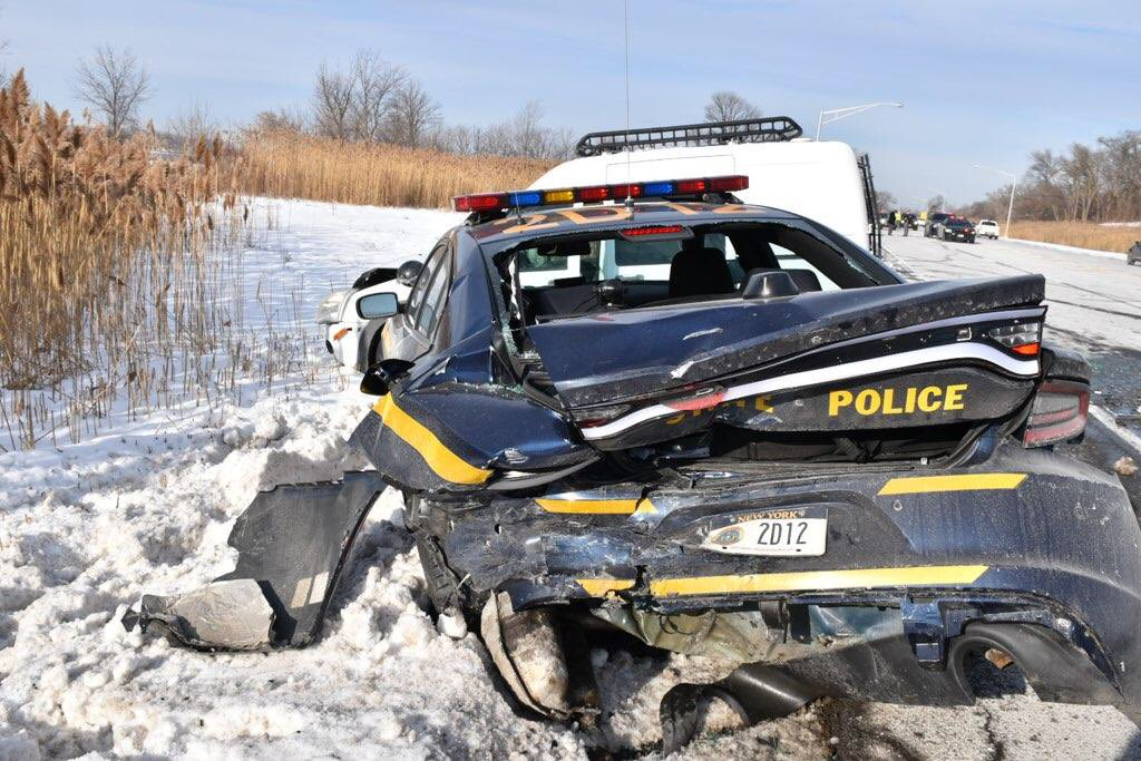 Police ticket Skaneateles woman who drove van into state police car