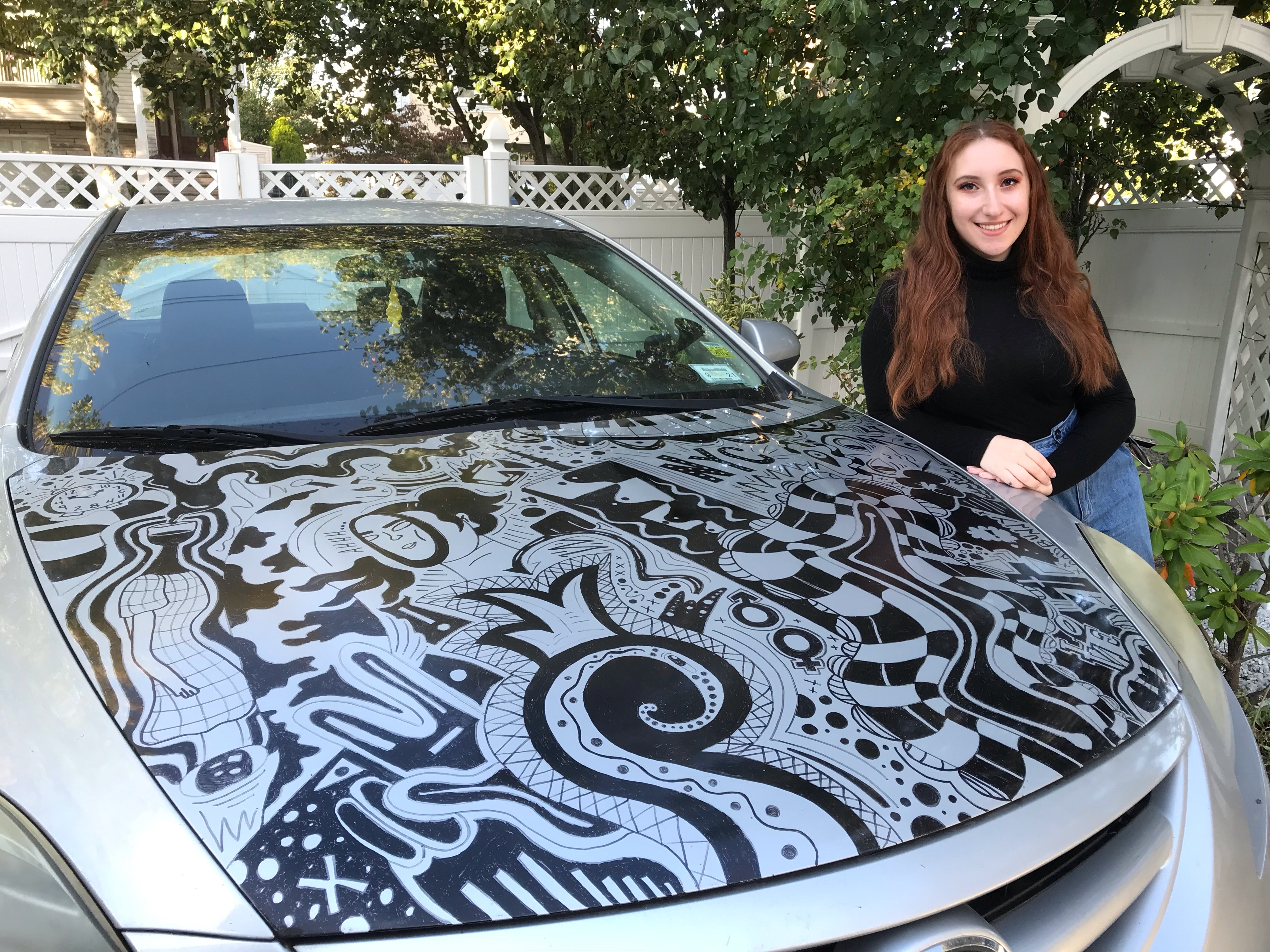Staten Island teen transforms her first car into a work of art — using 10 permanent markers
