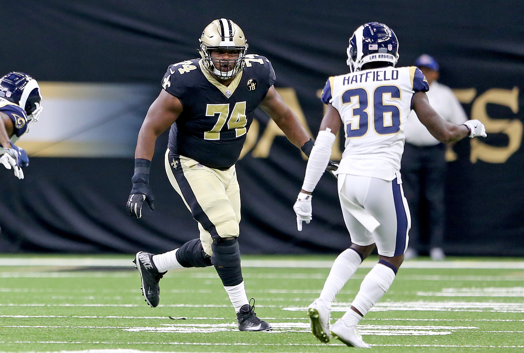 New Orleans Saints offensive tackle Jermon Bushrod (74) during the preseason game between the Los Angeles Rams and the New Orleans Saints at the Superdome on Friday, August 30, 2018. (Photo by Michael DeMocker, NOLA.com | The Times-Picayune)