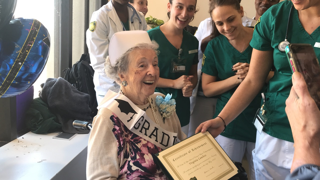 97-year-old woman named honorary nurse by Wagner College students