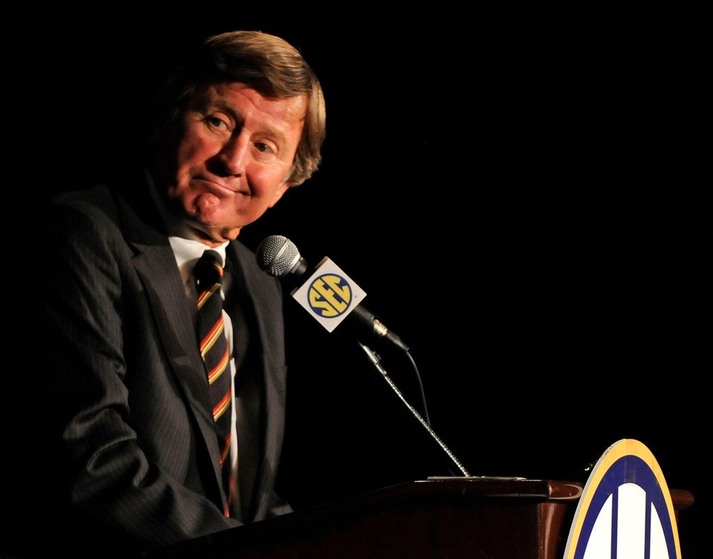 South Carolina coach Steve Spurrier addresses the media during SEC Media Days at the Wynfrey Hotel in Hoover, Ala., July 24, 2009.
