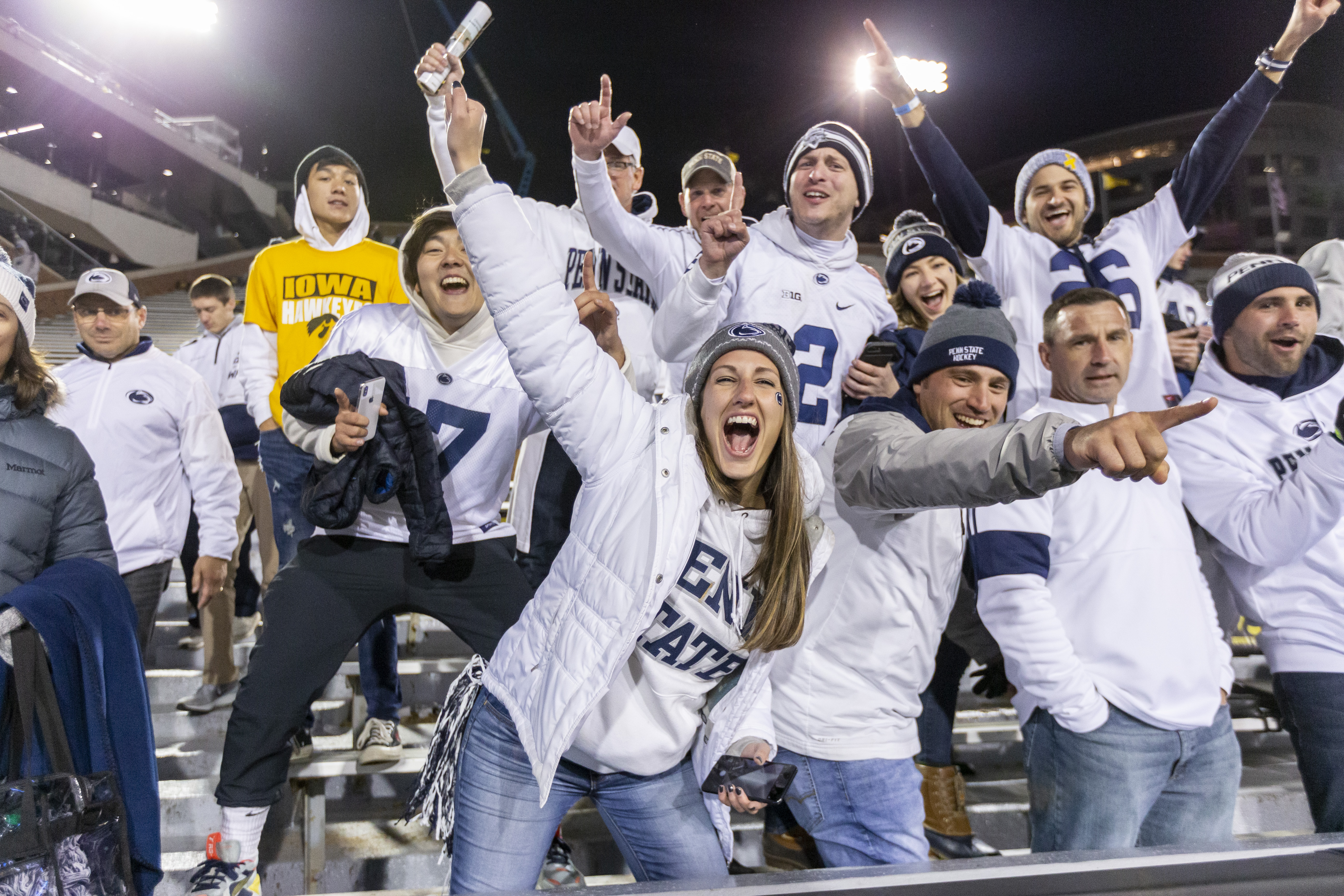 Penn State faces in the crowd from Iowa