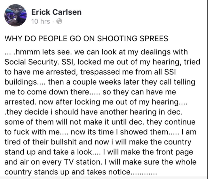 Oregon man accused of making Facebook threat to shoot up Social Security office after being denied benefits