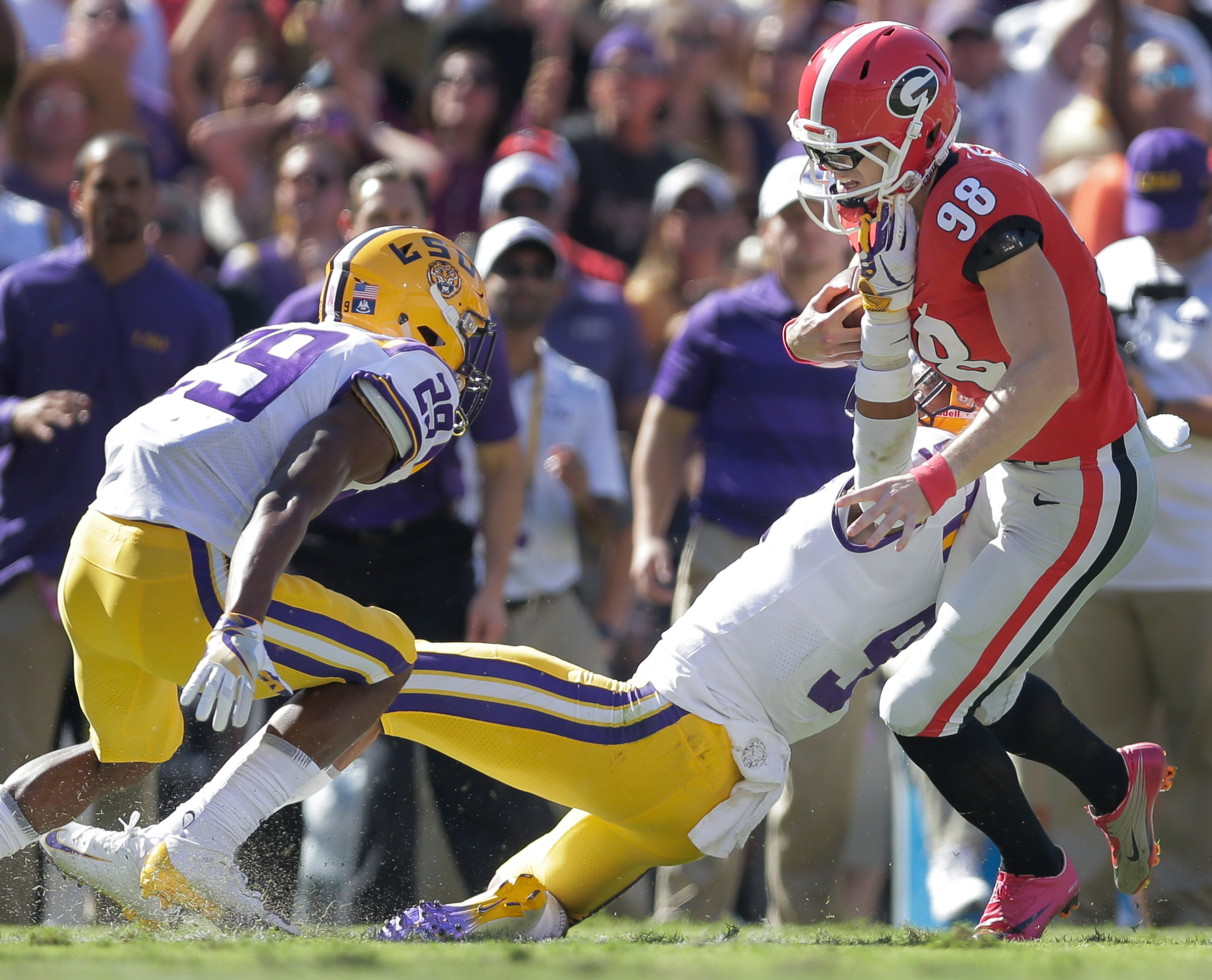 LSU safety Grant Delpit (9) takes down Georgia place kicker Rodrigo Blankenship (98) after he attempted a fake field goal in the first half during first half action in Baton Rouge on Saturday, October 13, 2018. (Photo by Brett Duke, NOLA.com | The Times-Picayune) NOLA.com | The Times-Picayune