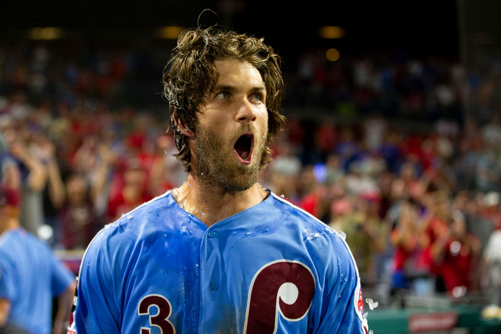 Bryce Harper has choice words for a heckler before delivering monster grand slam: Watch