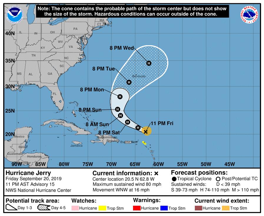 Hurricane Jerry 2019: Path looks better for Leeward Islands, but not Bermuda