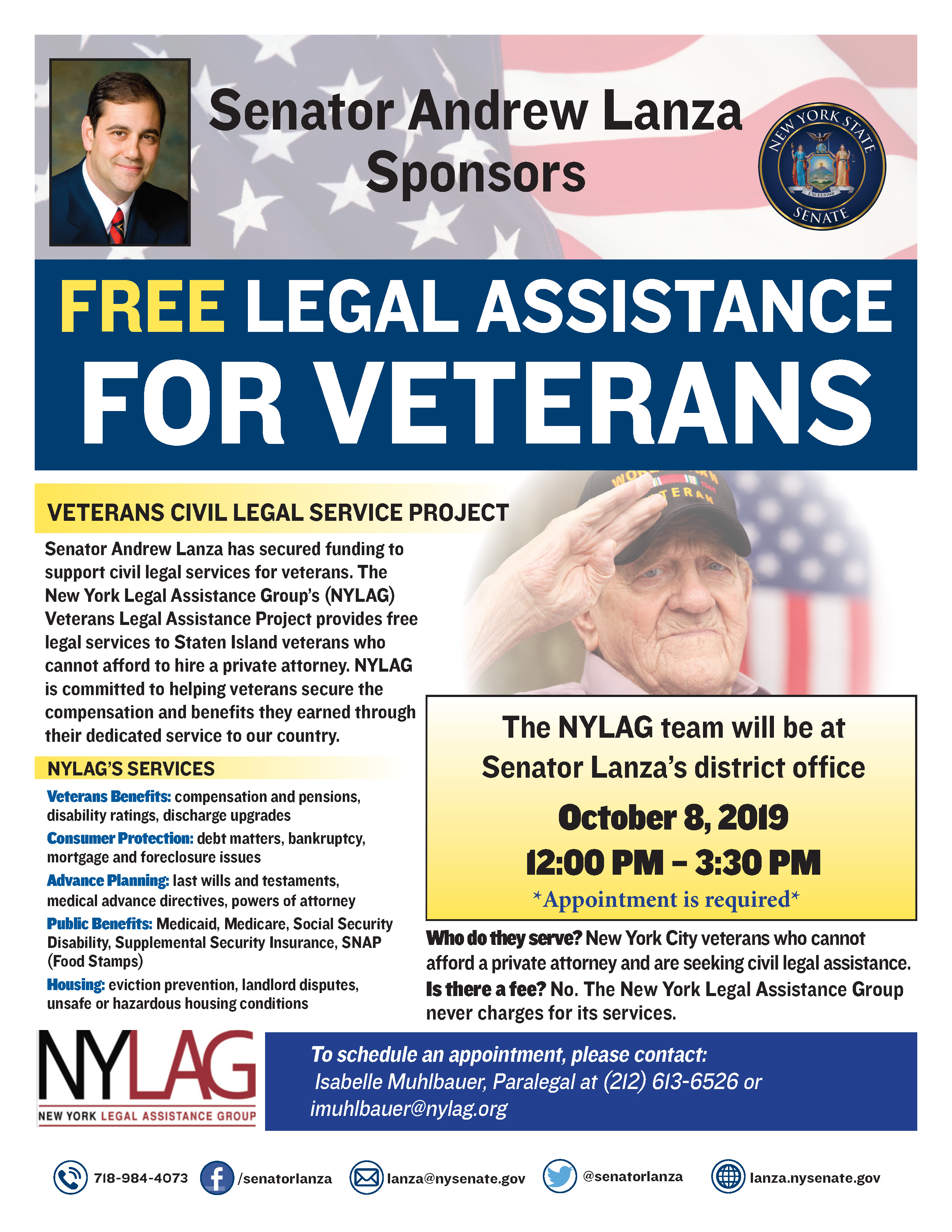 Lanza to host free legal services event for veterans, active duty military and family members