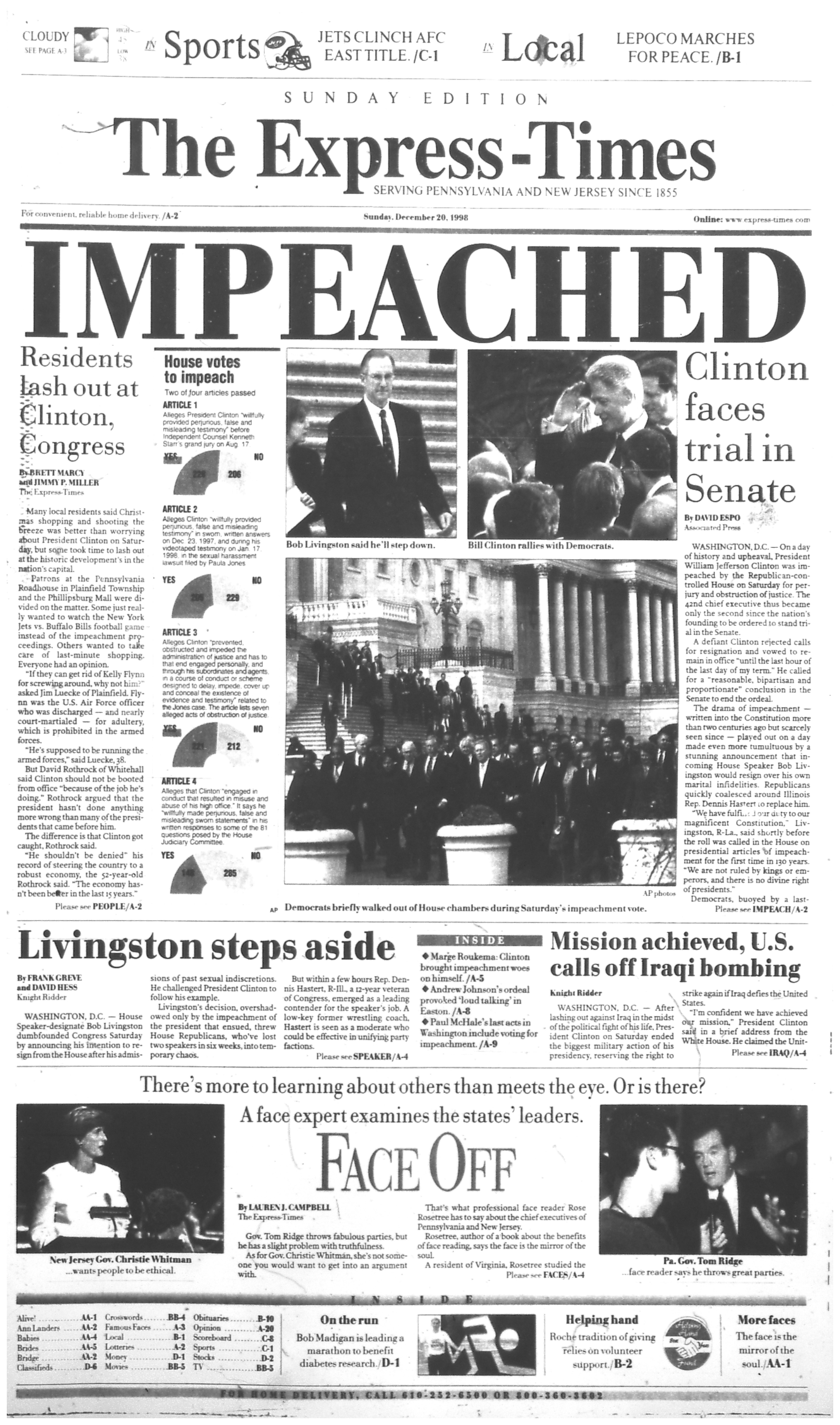 There Have Been 3 Impeachments In U S History See The Express Times Front Pages For Each One Lehighvalleylive Com