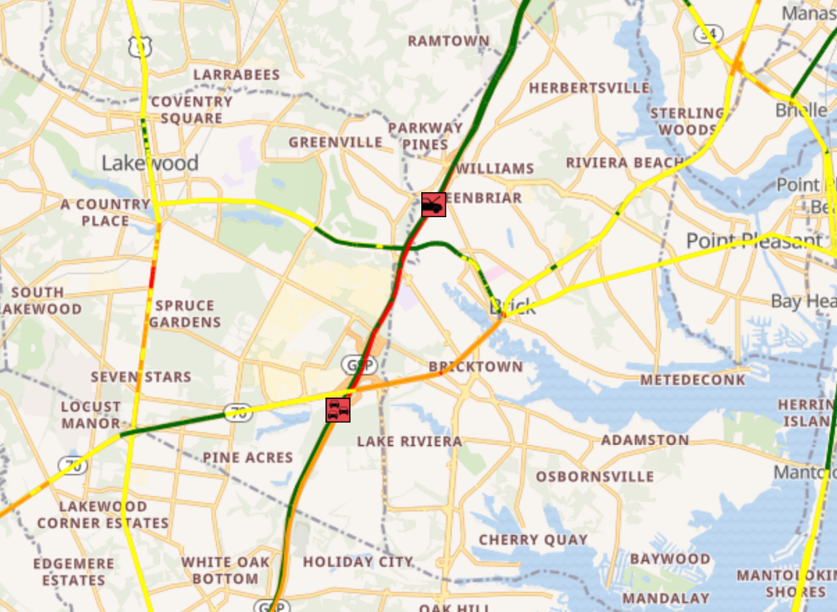 Garden State Parkway traffic jammed with lanes closed by crash in Ocean County