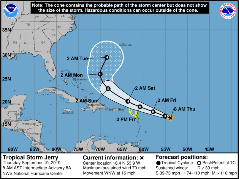 Tropical Storm Jerry strengthens into a hurricane, but latest forecast track looks good for U.S.