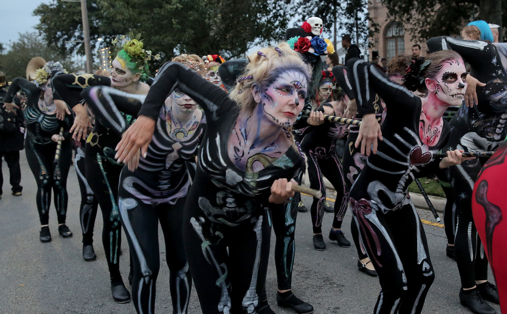 Members of the group Tap Dat warm up at the 2018 Krewe of Boo parade presented by Haunted History Tours Saturday (Oct. 20) on Elysian Fields before heading into the French Quarter. (Dinah Rogers Photo) Dinah L. Rogers, NOLA.com | The Times-Picayune
