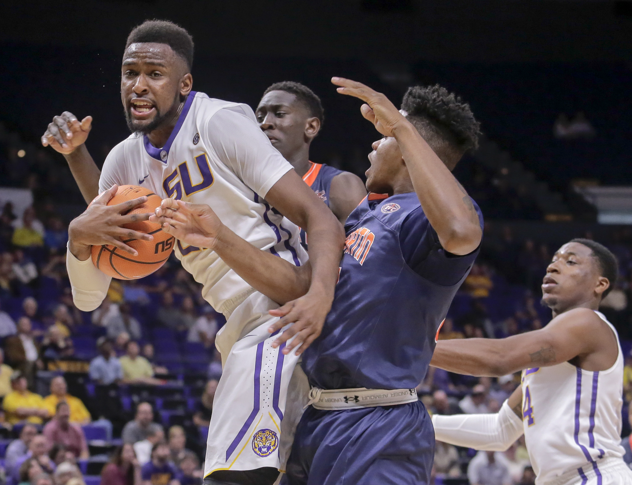 LSU Tigers forward Aaron Epps (21) comes down with the rebound during second half action against the Tennessee-Martin Skyhawks. The Northern Arizona Suns drafted Epps with the sixth pick in the NBA G League Draft. (Brett Duke, NOLA.com | The Times-Picayune)