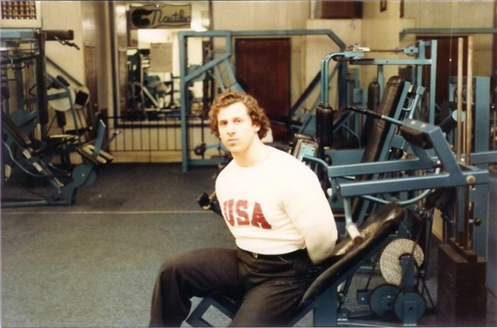 Mario Strong, who opened Staten Island Bodybuilding on New Dorp Lane in 1976, sits in the Nautilus room, circa 1980. (Photo courtesy of Mario Strong)