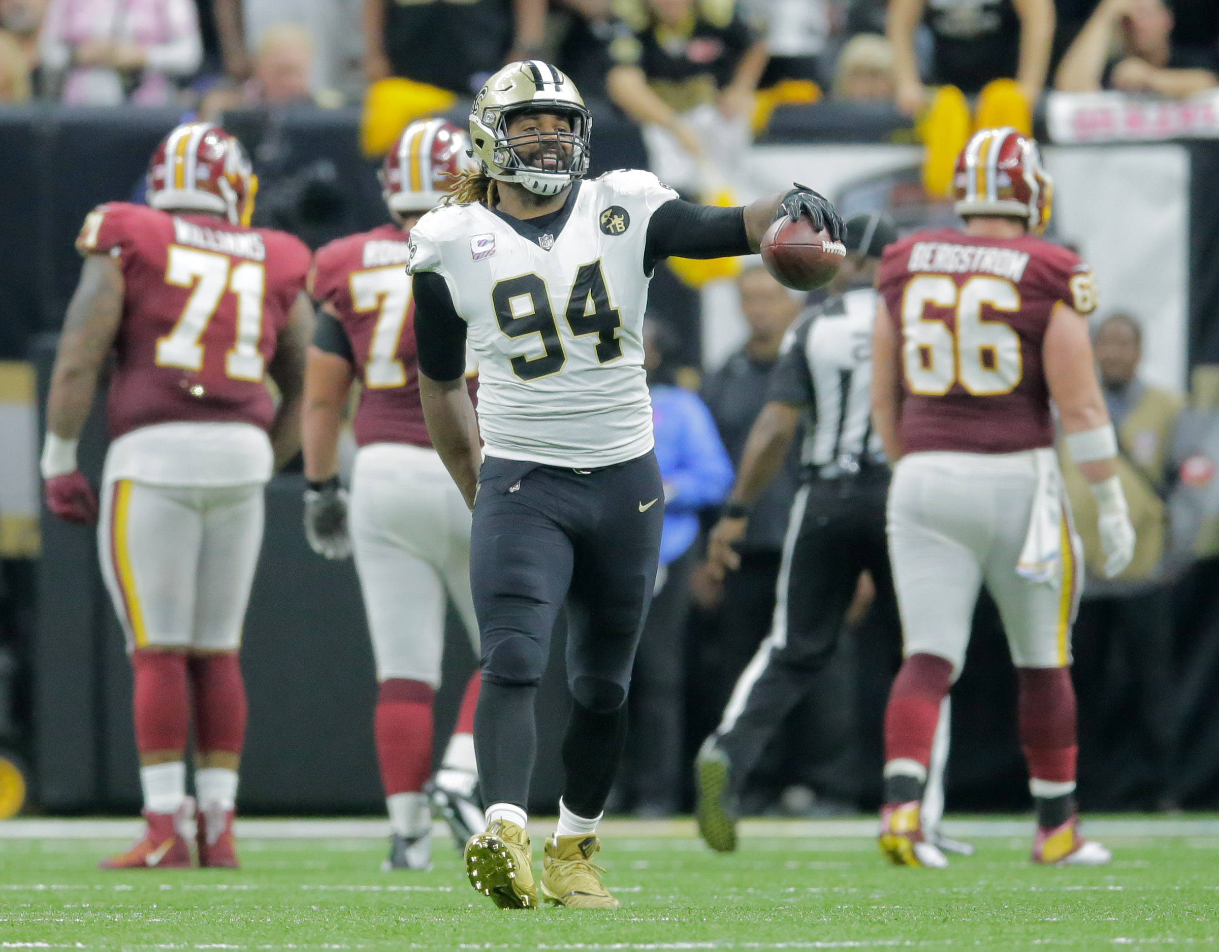 New Orleans Saints defensive end Cameron Jordan celebrates after helping stop the Washington Redskins during the game Monday.