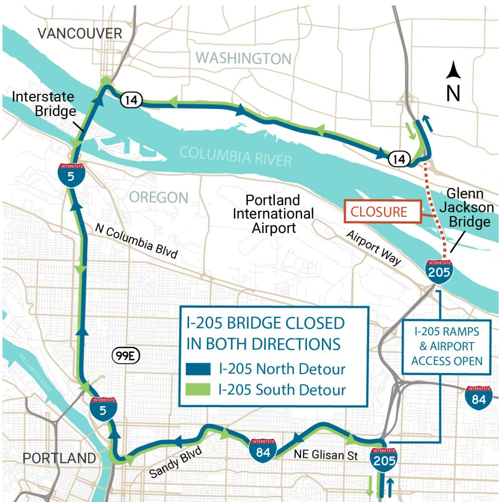 Portland Wednesday traffic: Glenn Jackson Bridge/I-205