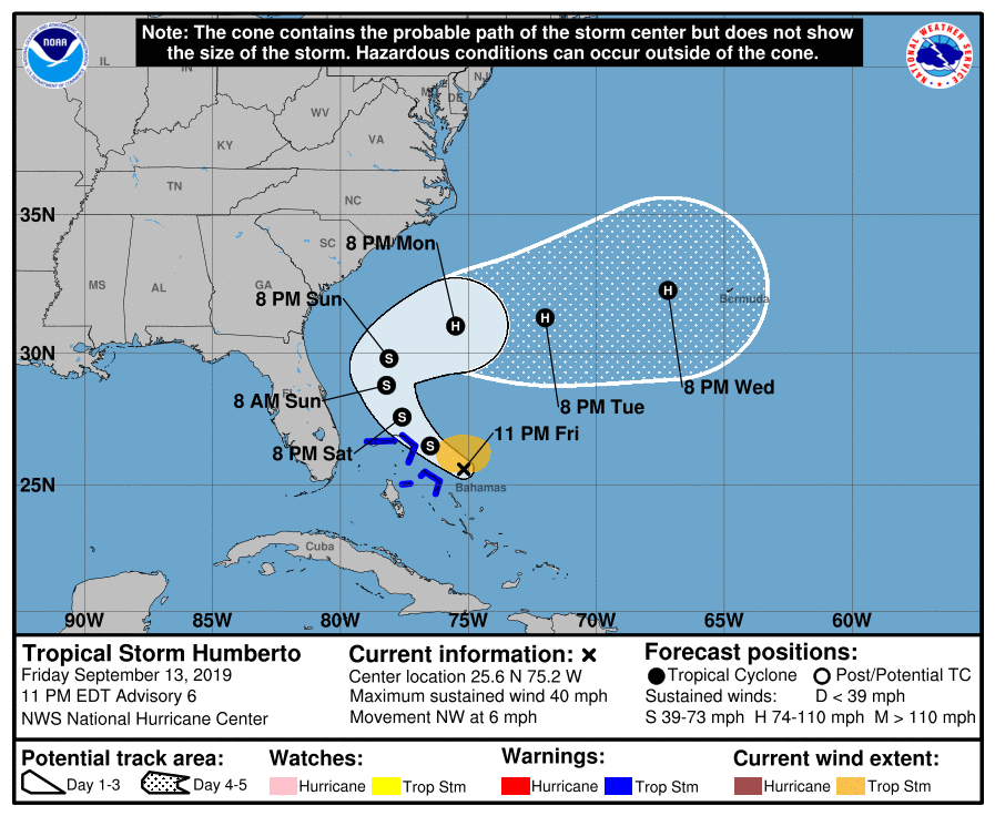 Tropical Storm Humberto 2019 forms near Bahamas; could become a hurricane but no U.S. threat