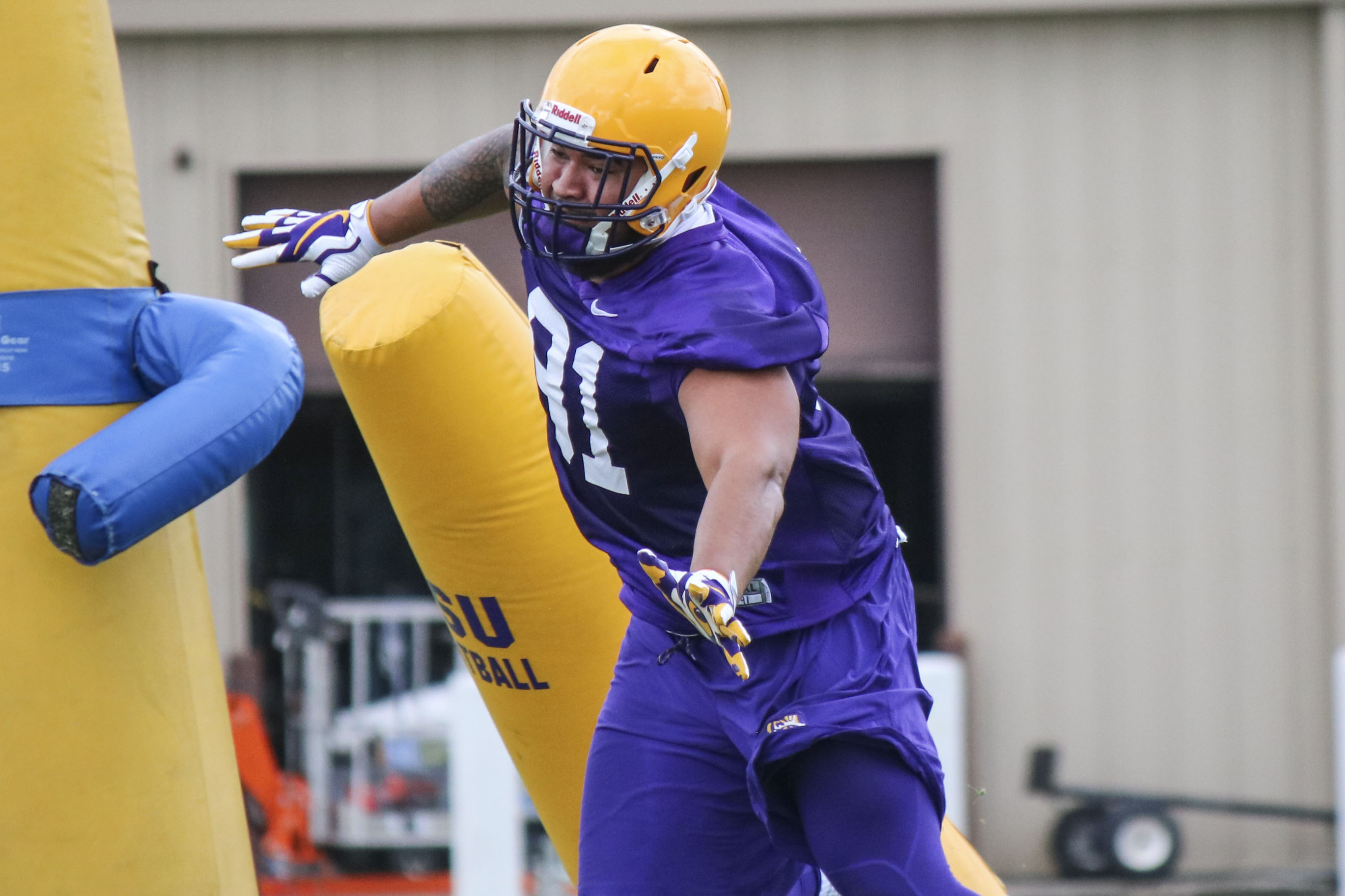 LSU defensive end Breiden Fehoko (91) at the first LSU fall practice in Baton Rouge, La. on Saturday, August 4, 2018. (Photo by Christa Moran)