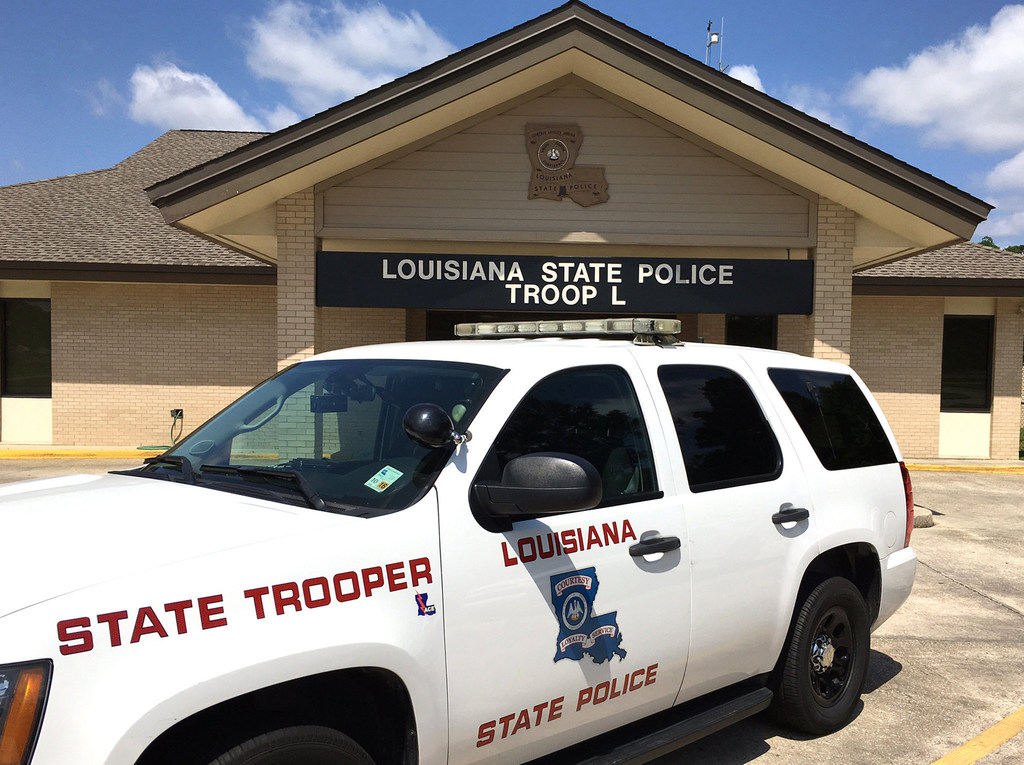 A Louisiana State Police vehicle at Troop L in Mandeville