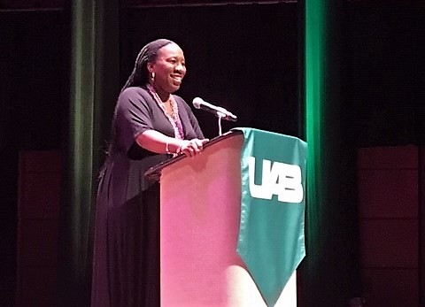 """""""Me too"""" founder Terena Burke lectures at UAB"""