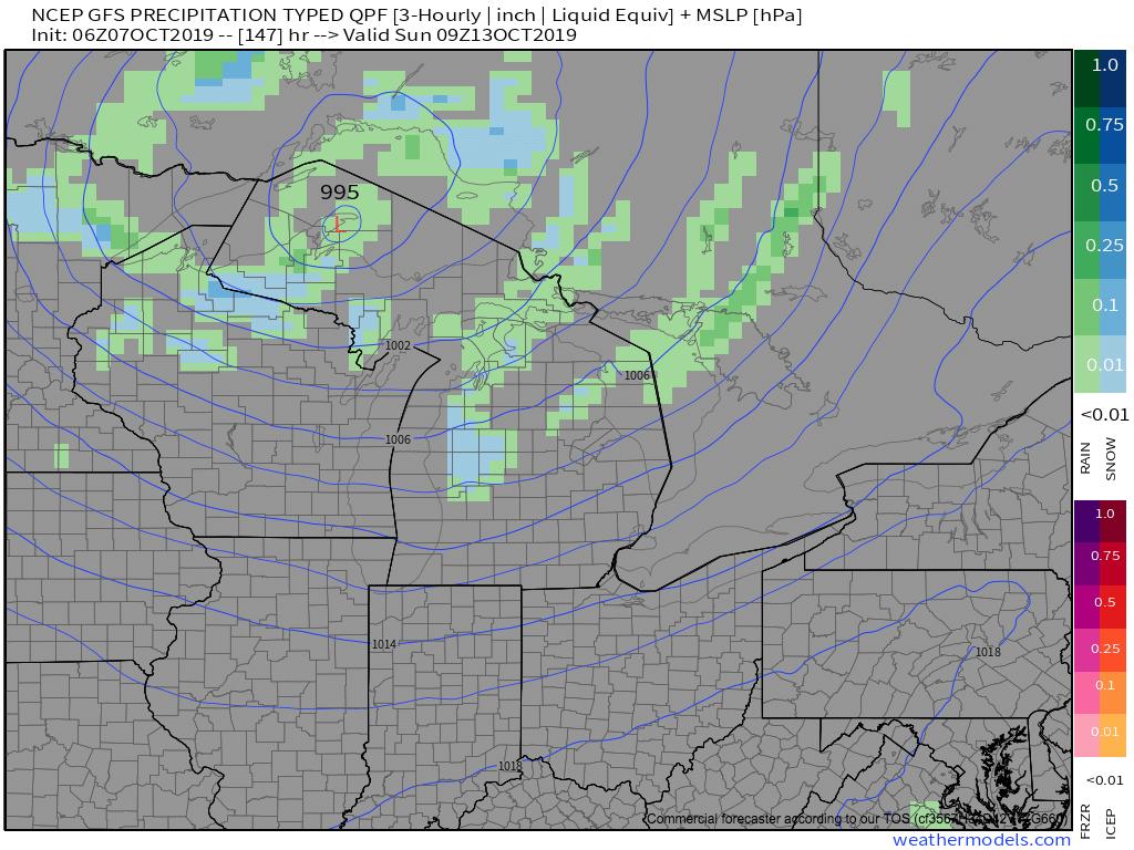 Radar forecast 5 a.m. Sunday