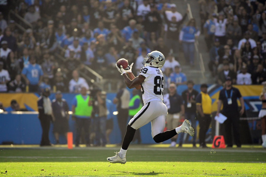 Oakland Raiders wide receiver Amari Cooper catches an 87-yard touchdown pass during an NFL game against the Los Angeles Chargers on Dec. 31, 2017, in Carson, Calif.