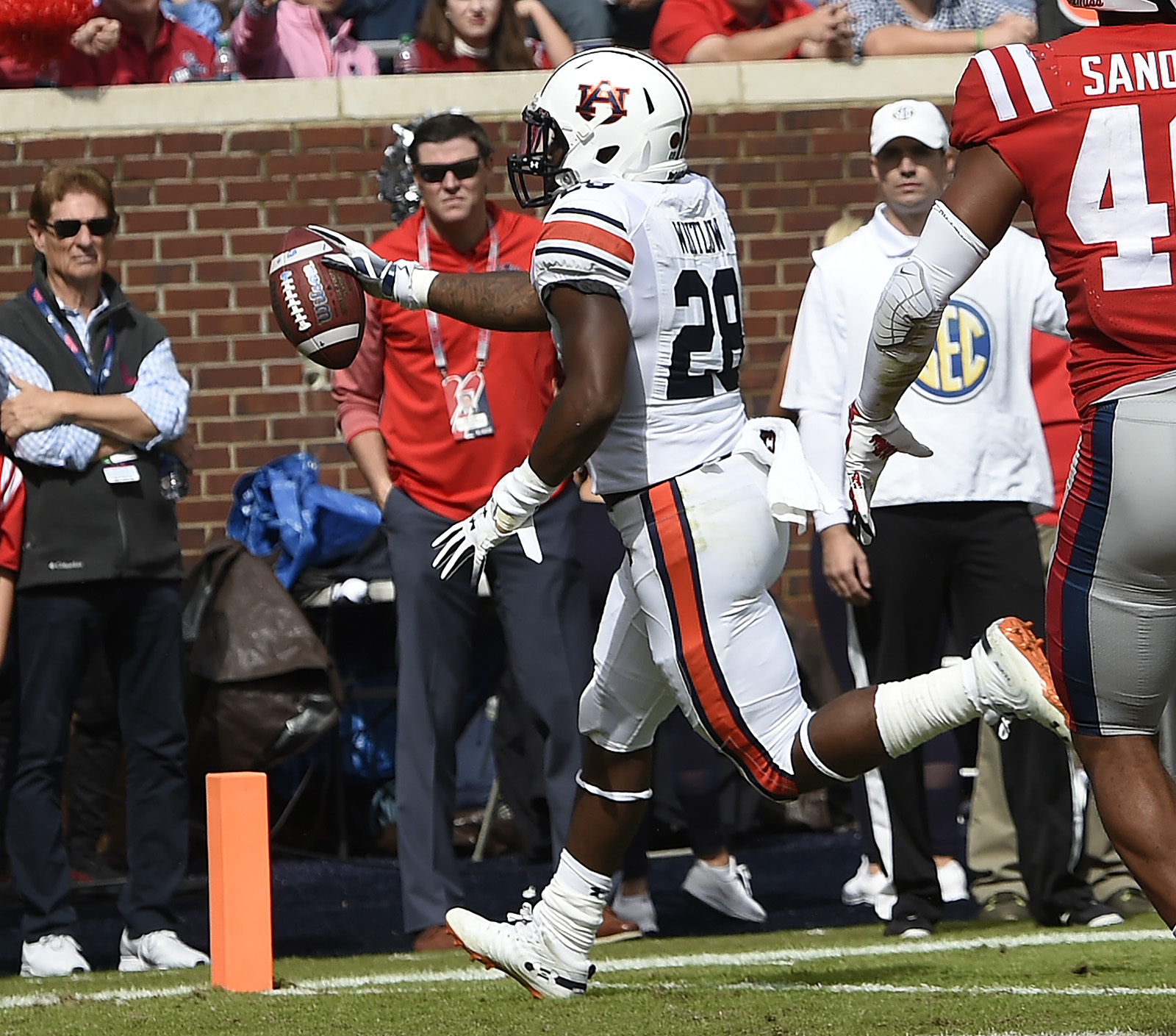 Auburn's JaTarvious Whitlow scores a touchdown in the first half. Auburn at Ole Miss on Saturday, Oct. 20, 2018 in Oxford, MS. Todd Van Emst/AU Athletics