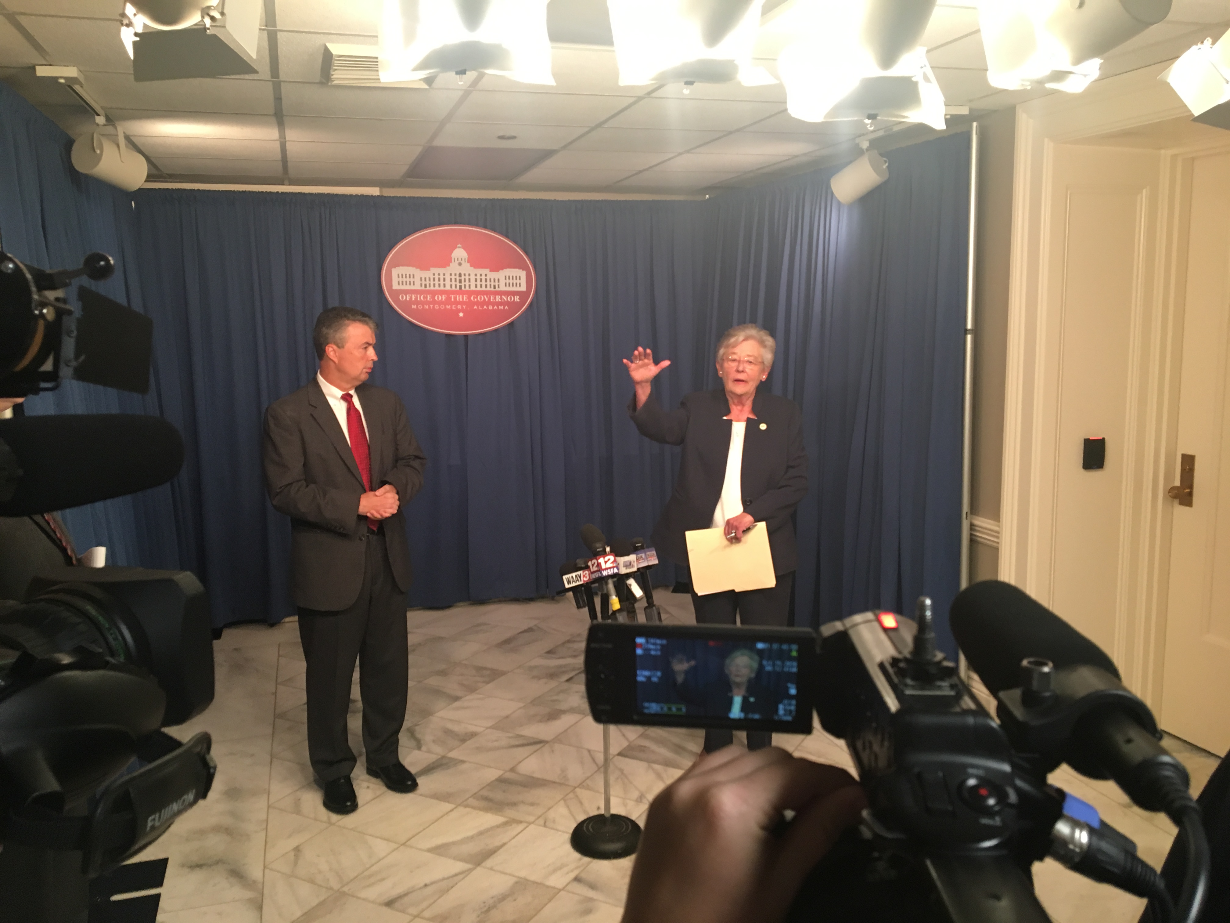 Gov. Kay Ivey and Attorney General Steve Marshall hold a press conference after meeting with the Alabama Board of Pardons and Paroles on Oct. 15, 2018. Ivey issued a moratorium on early paroles.