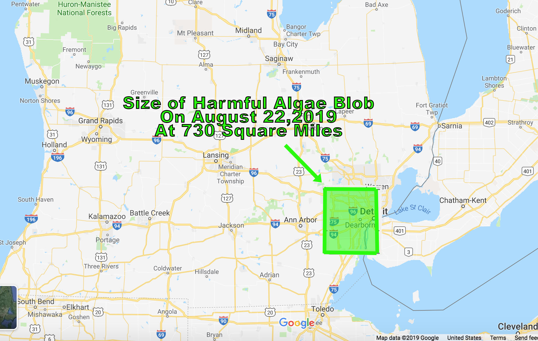 Lake Erie harmful algae blob swelled in last week, see how it compares in size