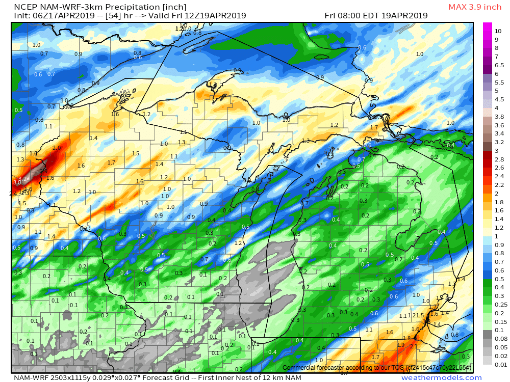 Total rainfall through 8 a.m. Friday, April 19, 2019