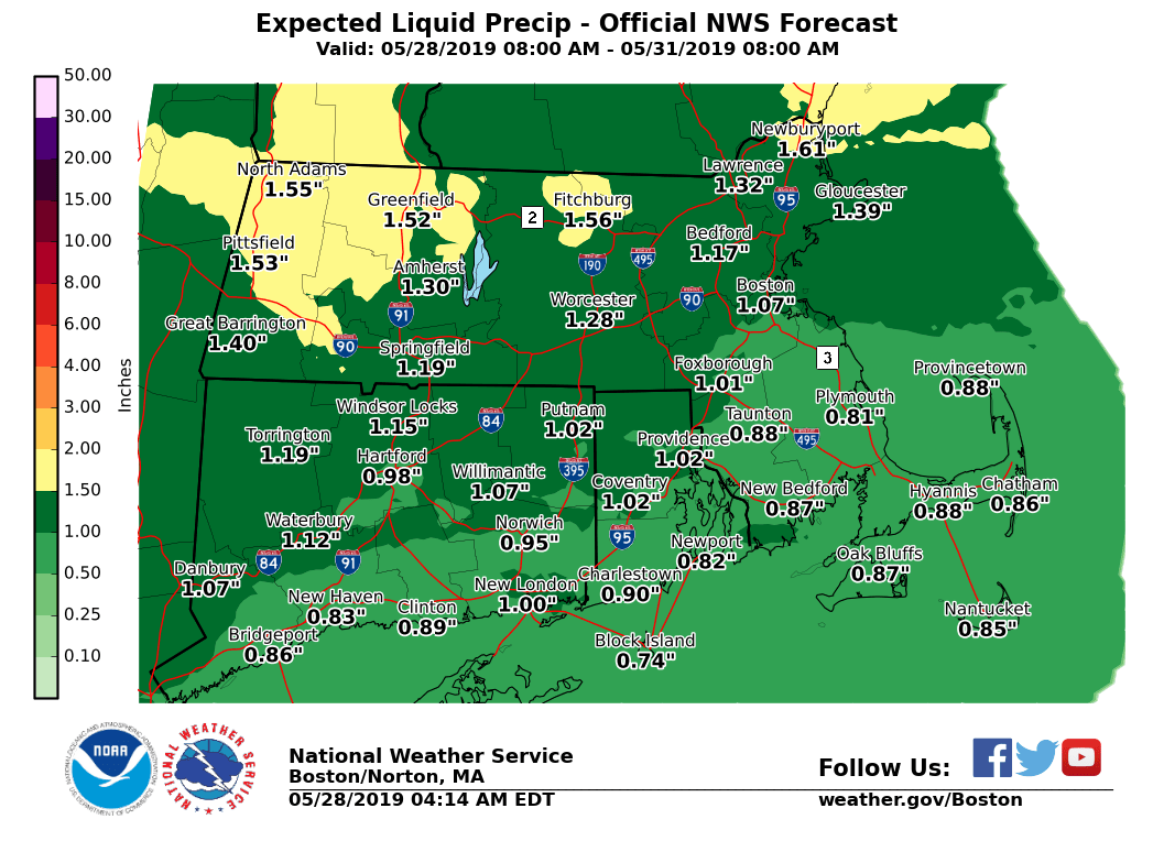 Expected rainfall by Friday, May 31