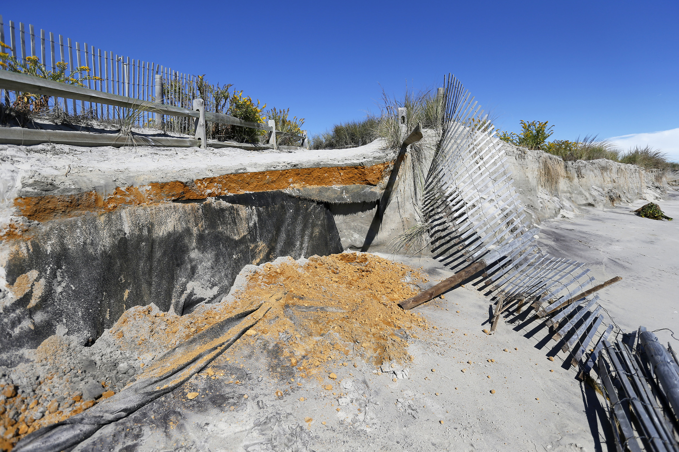 Sinkholes appear on Jersey Shore beach after erosion from storm (VIDEO)