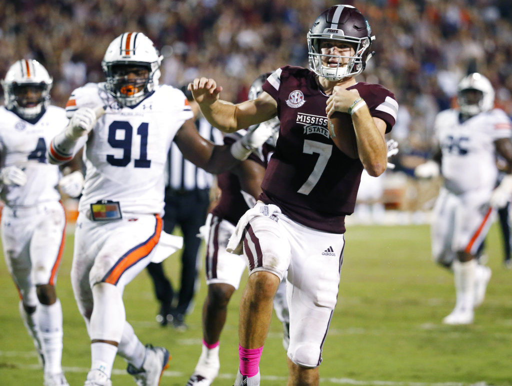 Mississippi State quarterback Nick Fitzgerald runs into the end zone during an SEC game against Auburn on Oct. 6, 2018, at Davis Wade Stadium in Starkville, Miss.