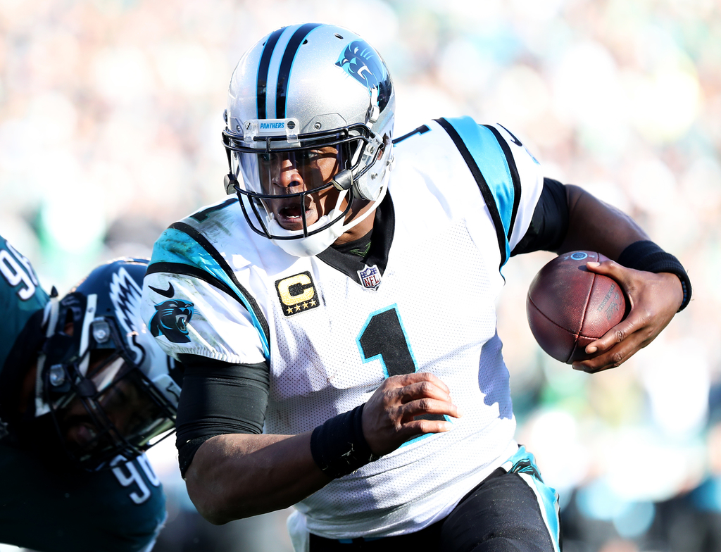 Panthers QB Cam Newton (1) runs the ball to the 1-yard line during the fourth quarter against the Eagles at Lincoln Financial Field, Sunday, Oct. 21, 2018. Lori M. Nichols | NJ Advance Media for NJ.com