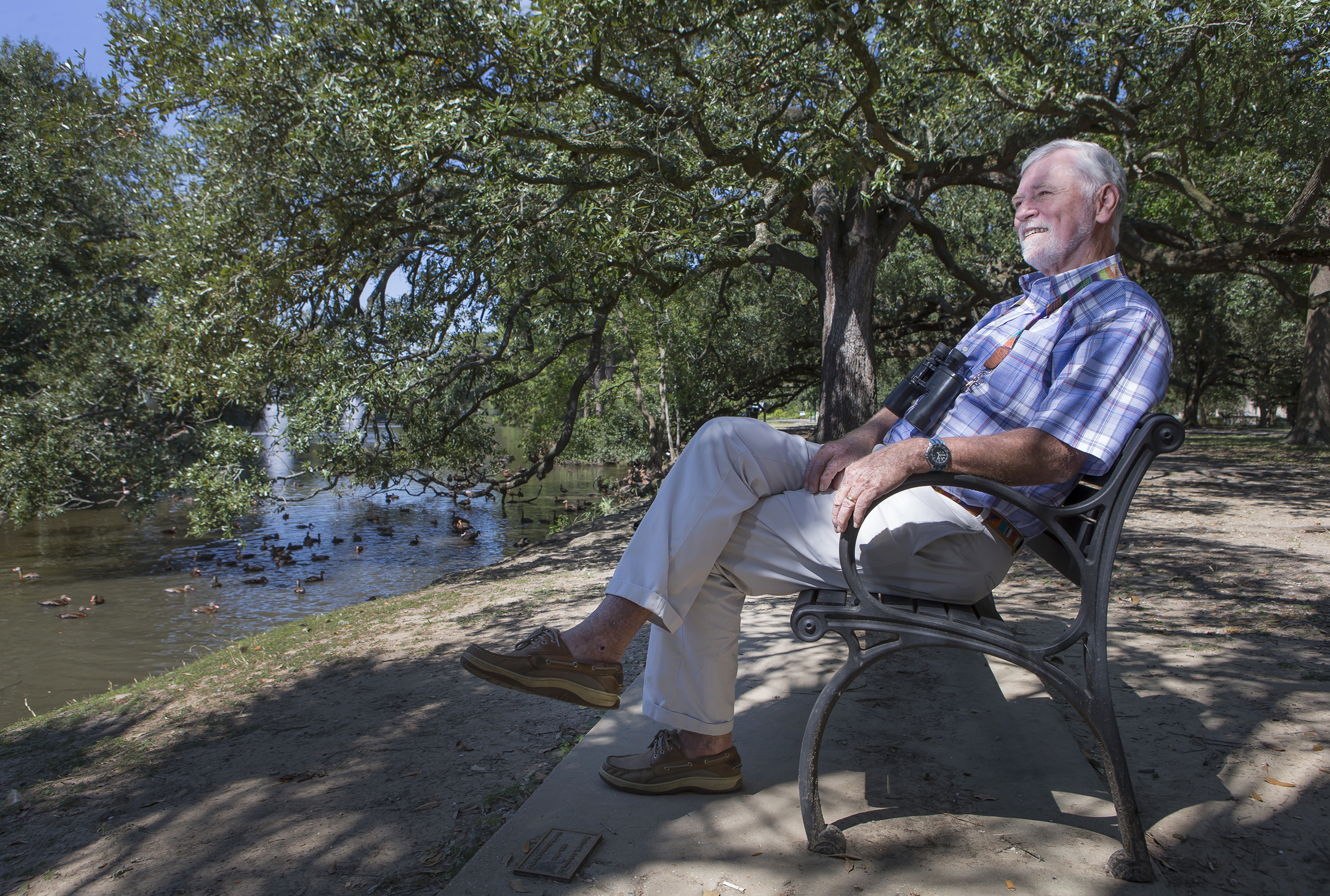 Environmentalist Bob Thomas relaxes at Audubon Park in New Orleans on Oct. 3, 2016.