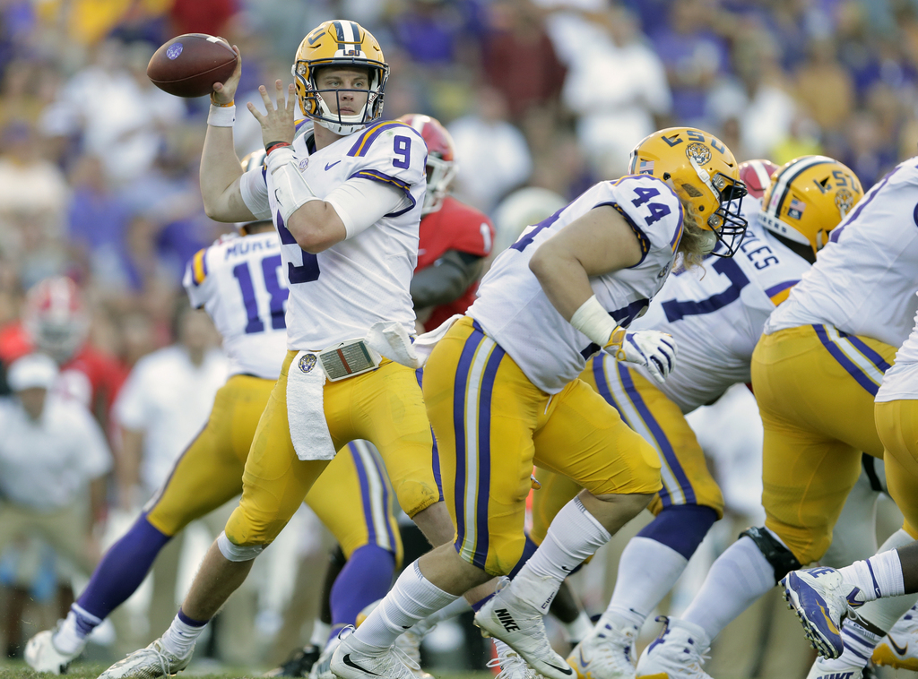 LSU Tigers quarterback Joe Burrow (9) throws the ball during second half action against the Georgia Bulldogs in Baton Rouge on Saturday, October 13, 2018. (Photo by Brett Duke, NOLA.com | The Times-Picayune) NOLA.com | The Times-Picayune