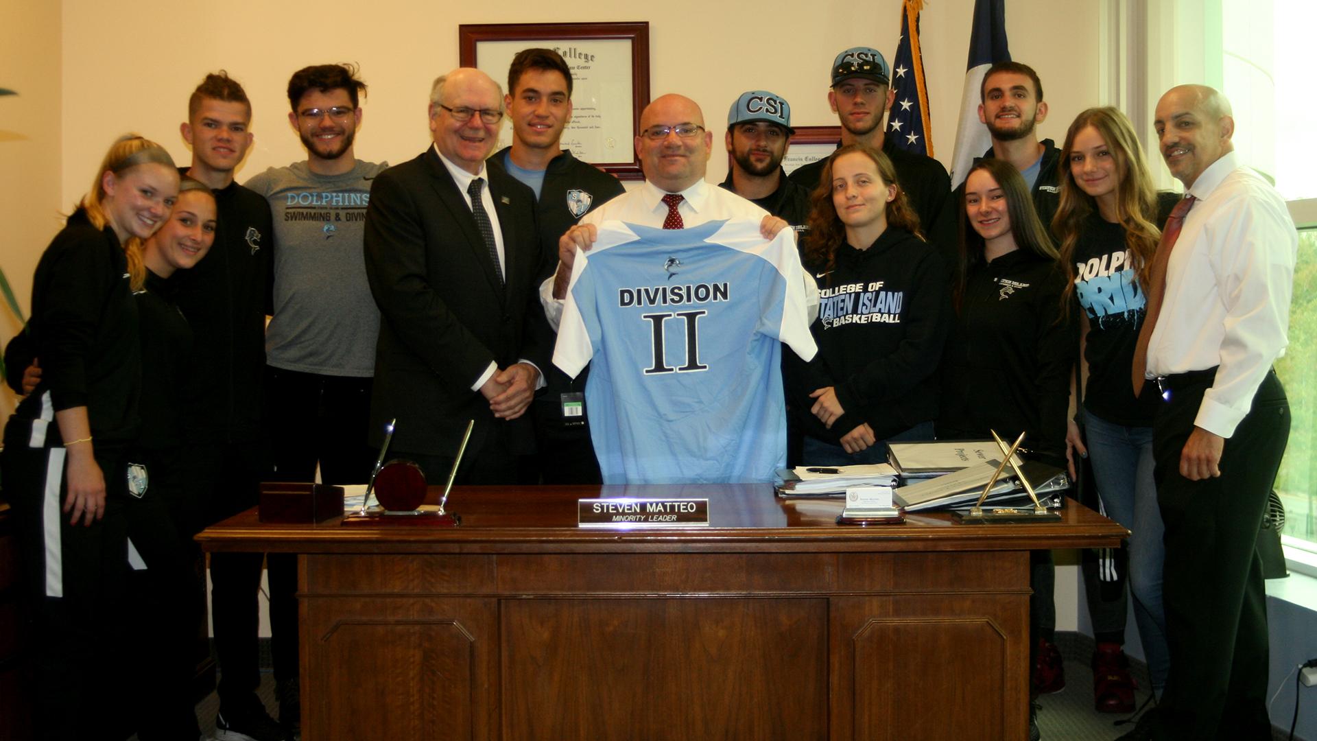 NYC Councilman Steven Matteo celebrates CSI NCAA Division II move