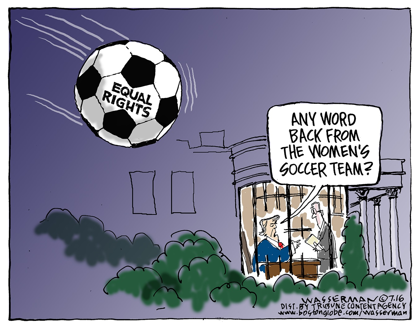 Editorial cartoons for July 14, 2019: Women's soccer, Jeffrey Epstein, divided Democrats