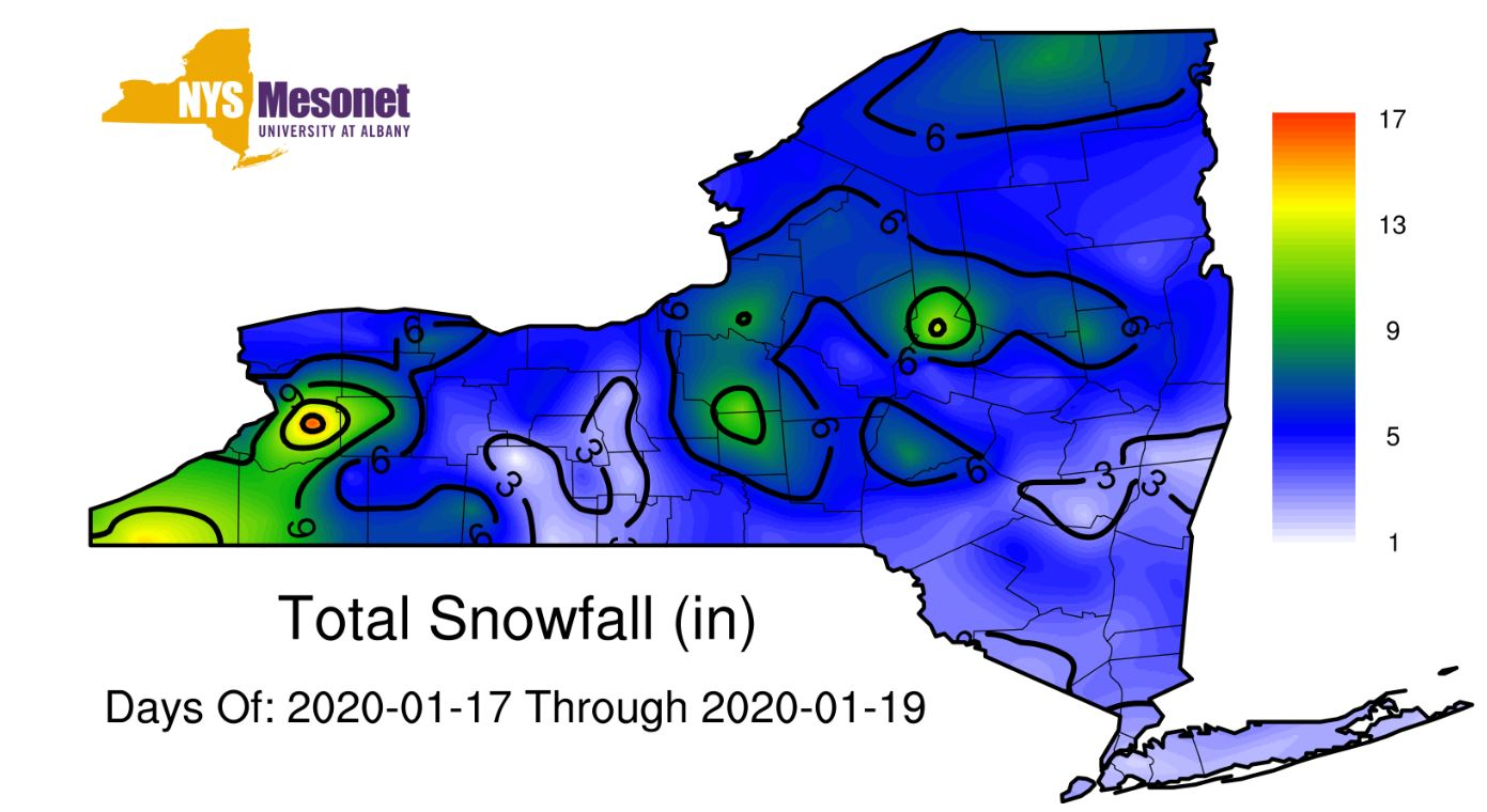 How much snow fell in Upstate NY weekend storm (Jan. 17-19)?