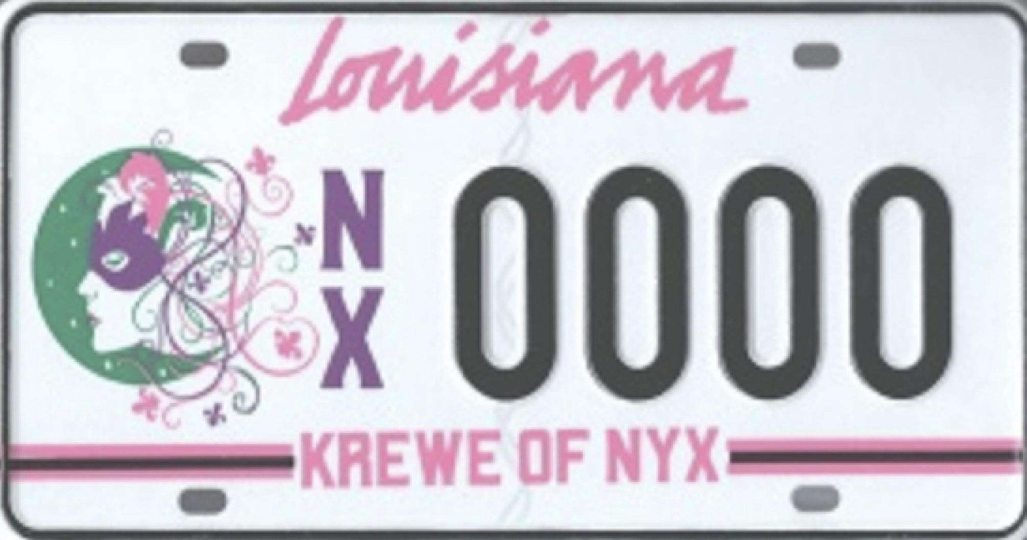 The Krewe of Nyx has been granted a custom Louisiana license plate.