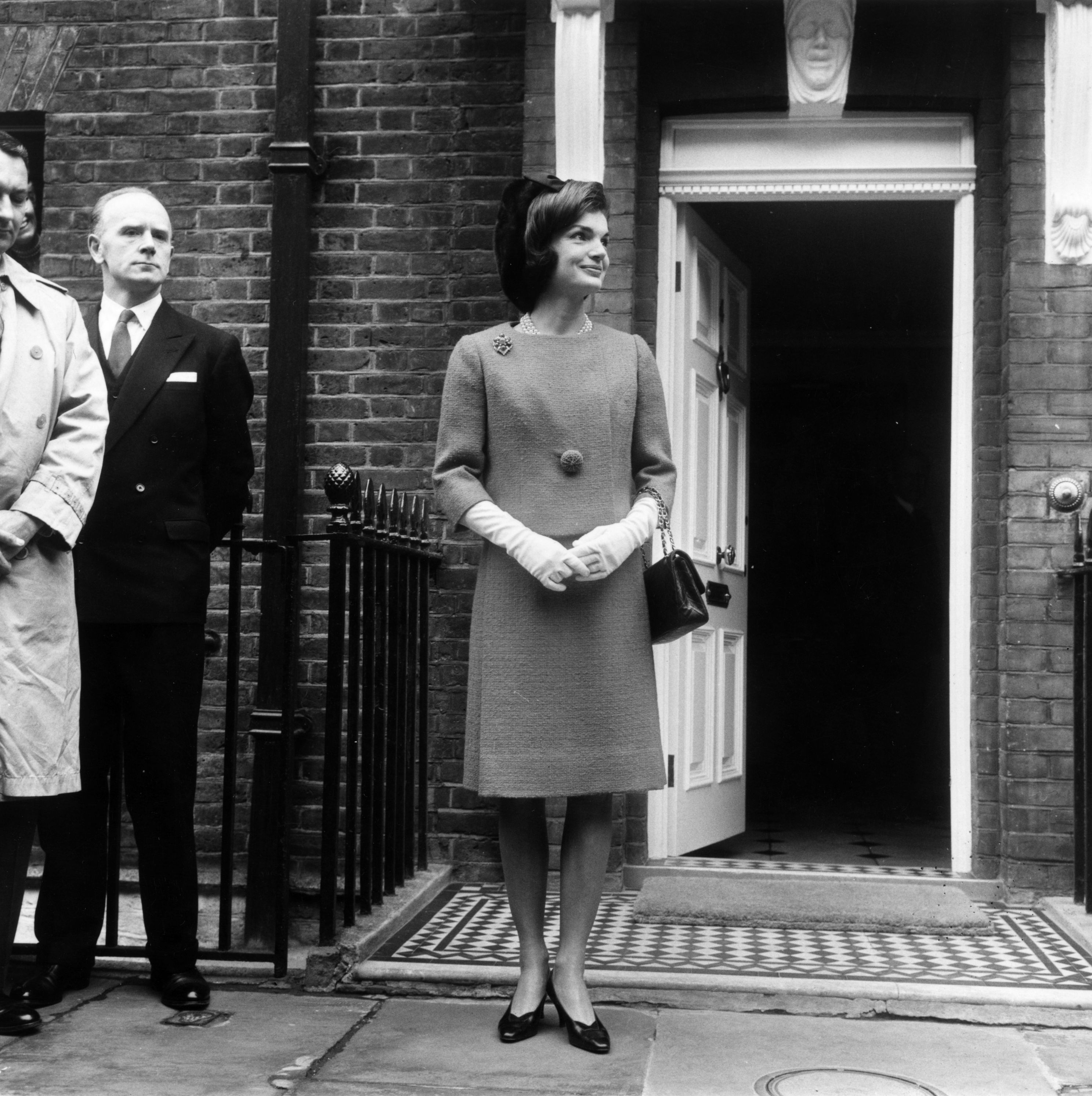 Then Jackie Kennedy, leaving for lunch with Queen Elizabeth II of Great Britain April 3, 1962. (Photo by Evening Standard/Getty Images)